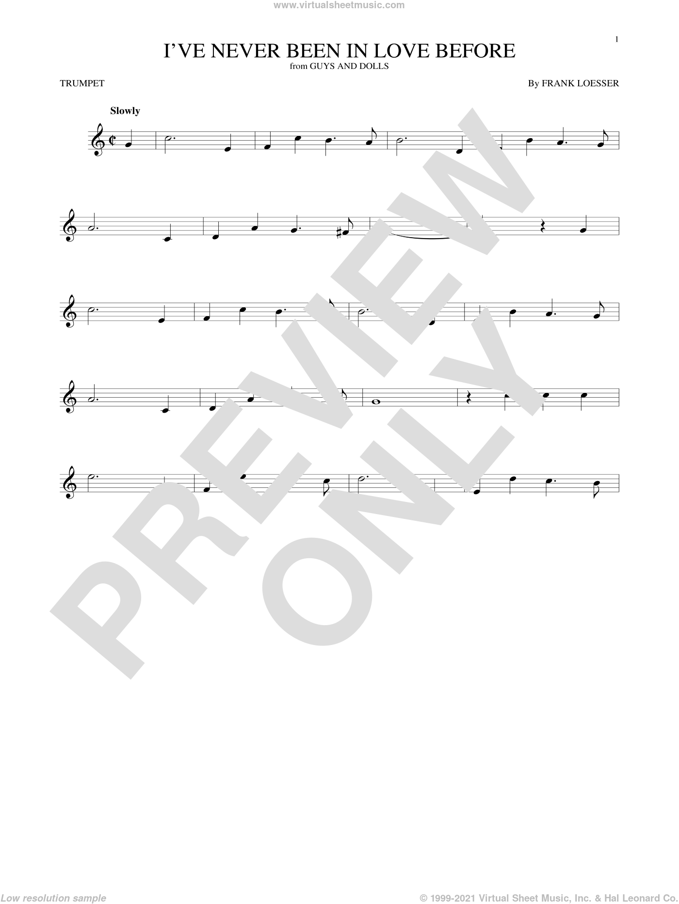 I've Never Been In Love Before sheet music for trumpet solo by Frank Loesser, Billy Eckstine, Chet Baker and Stan Kenton, intermediate skill level