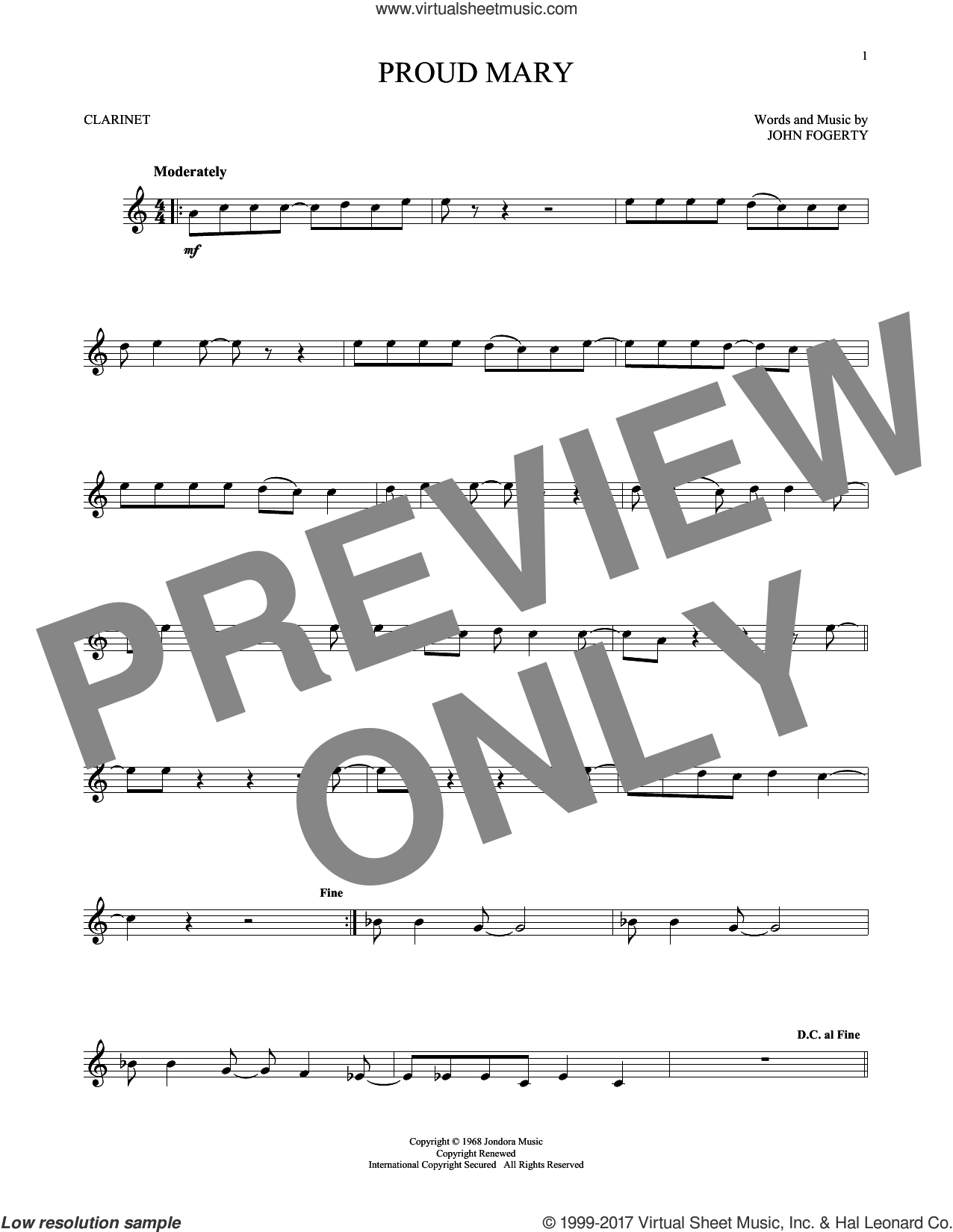 Proud Mary sheet music for clarinet solo by Creedence Clearwater Revival and John Fogerty, intermediate. Score Image Preview.