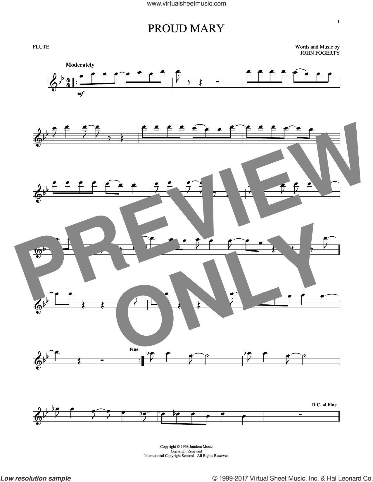 Proud Mary sheet music for flute solo by Creedence Clearwater Revival and John Fogerty, intermediate skill level