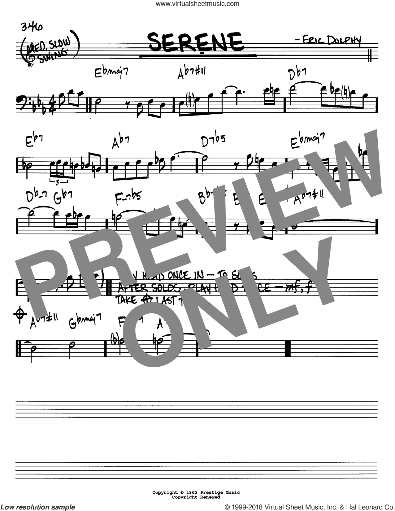 Serene sheet music for voice and other instruments (Bass Clef ) by Eric Dolphy. Score Image Preview.