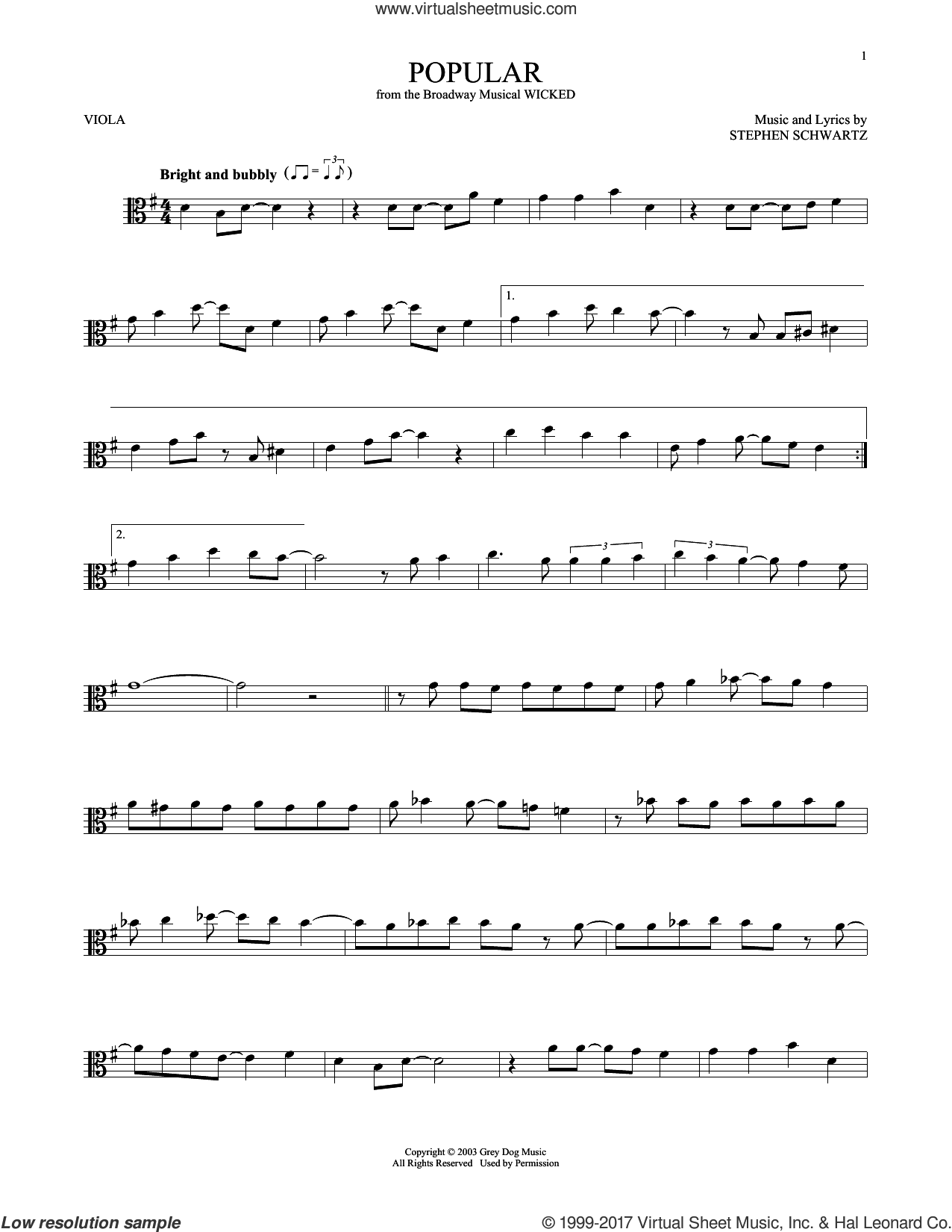 Popular sheet music for viola solo by Stephen Schwartz, intermediate