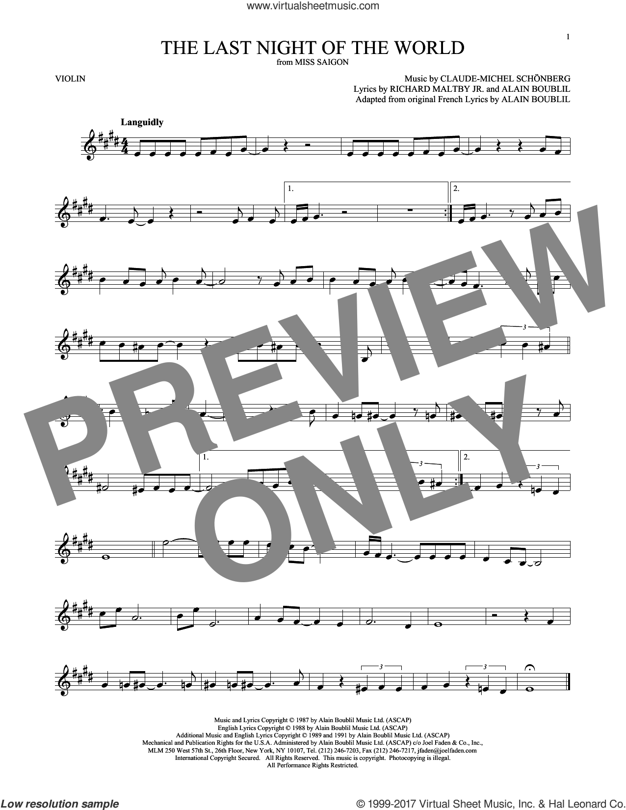 The Last Night Of The World sheet music for violin solo by Alain Boublil and Claude-Michel Schonberg, intermediate skill level