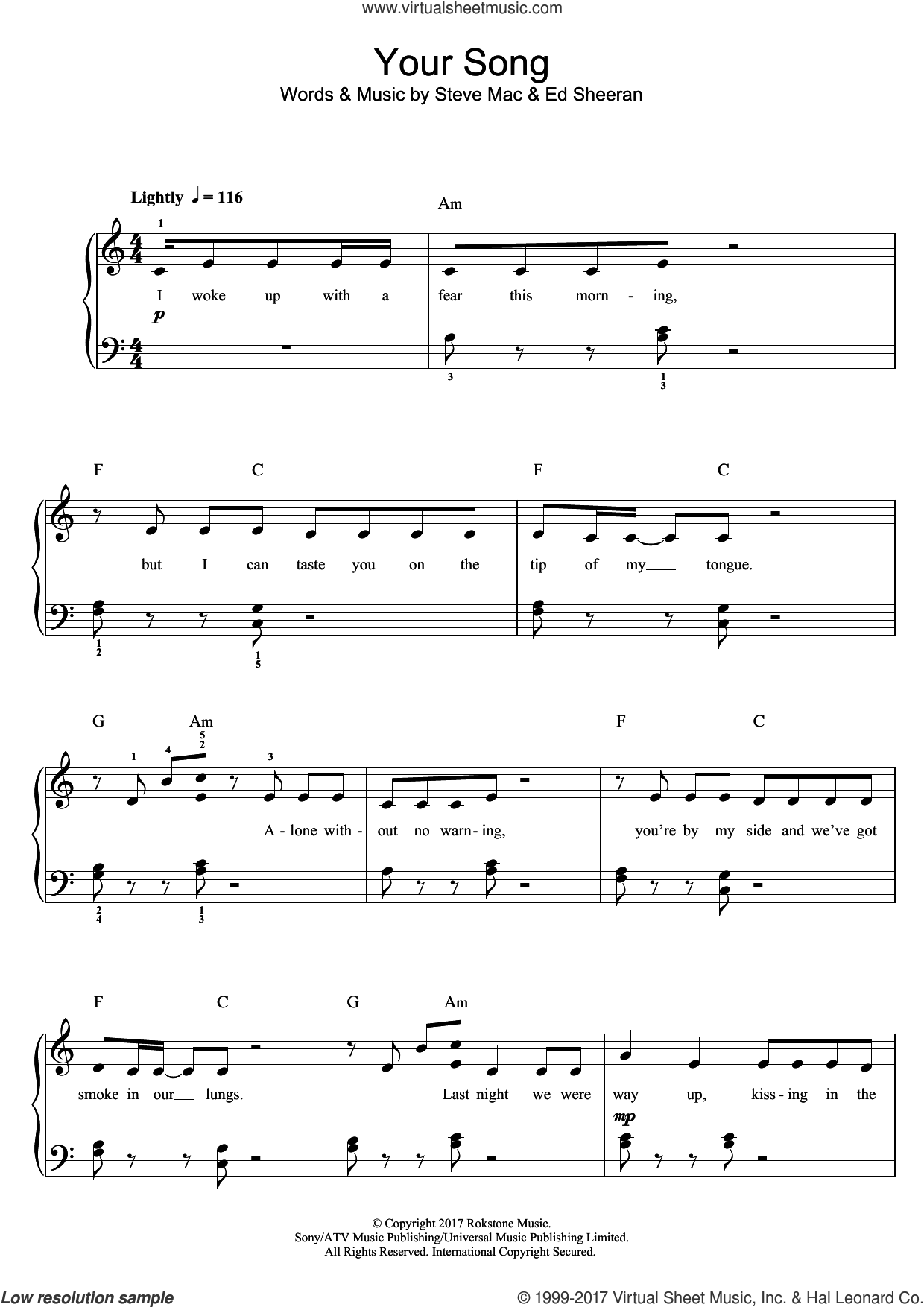 Your Song sheet music for piano solo (beginners) by Rita Ora, Ed Sheeran and Steve Mac, beginner piano (beginners)