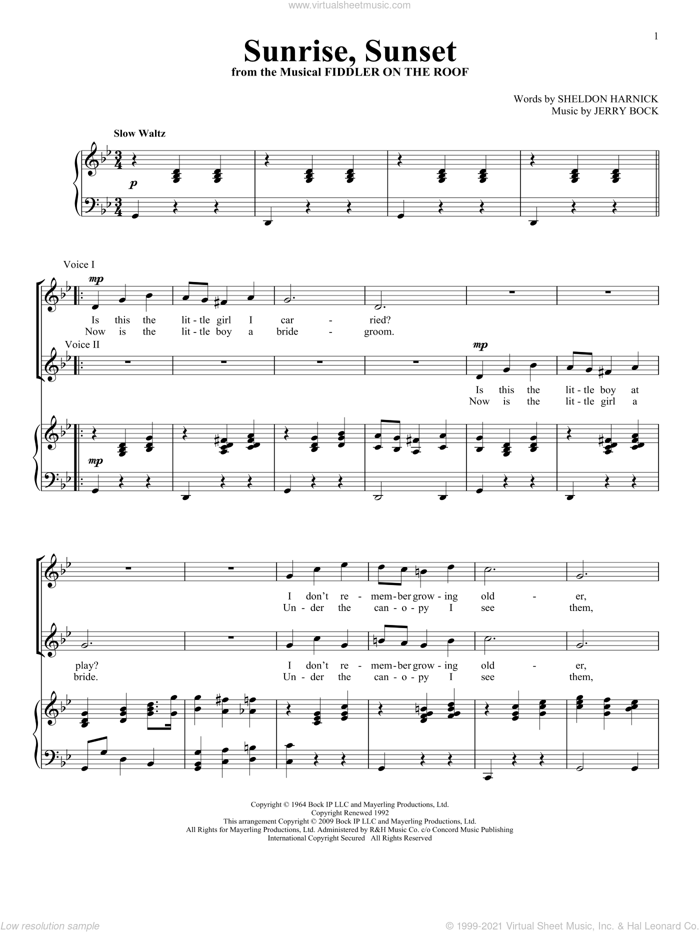 Sunrise, Sunset sheet music for two voices and piano by Sheldon Harnick and Jerry Bock, intermediate skill level
