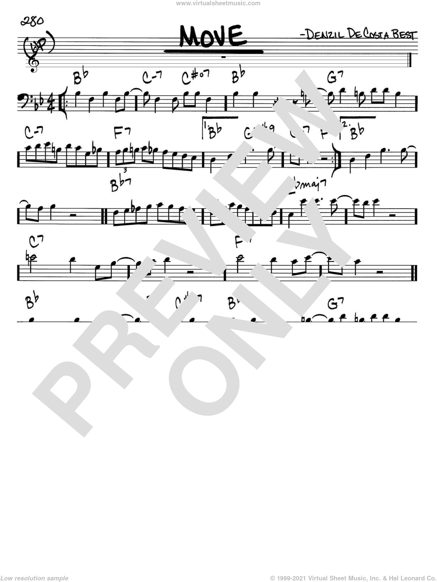 Move sheet music for voice and other instruments (bass clef) by Miles Davis and Denzil De Costa Best, intermediate skill level