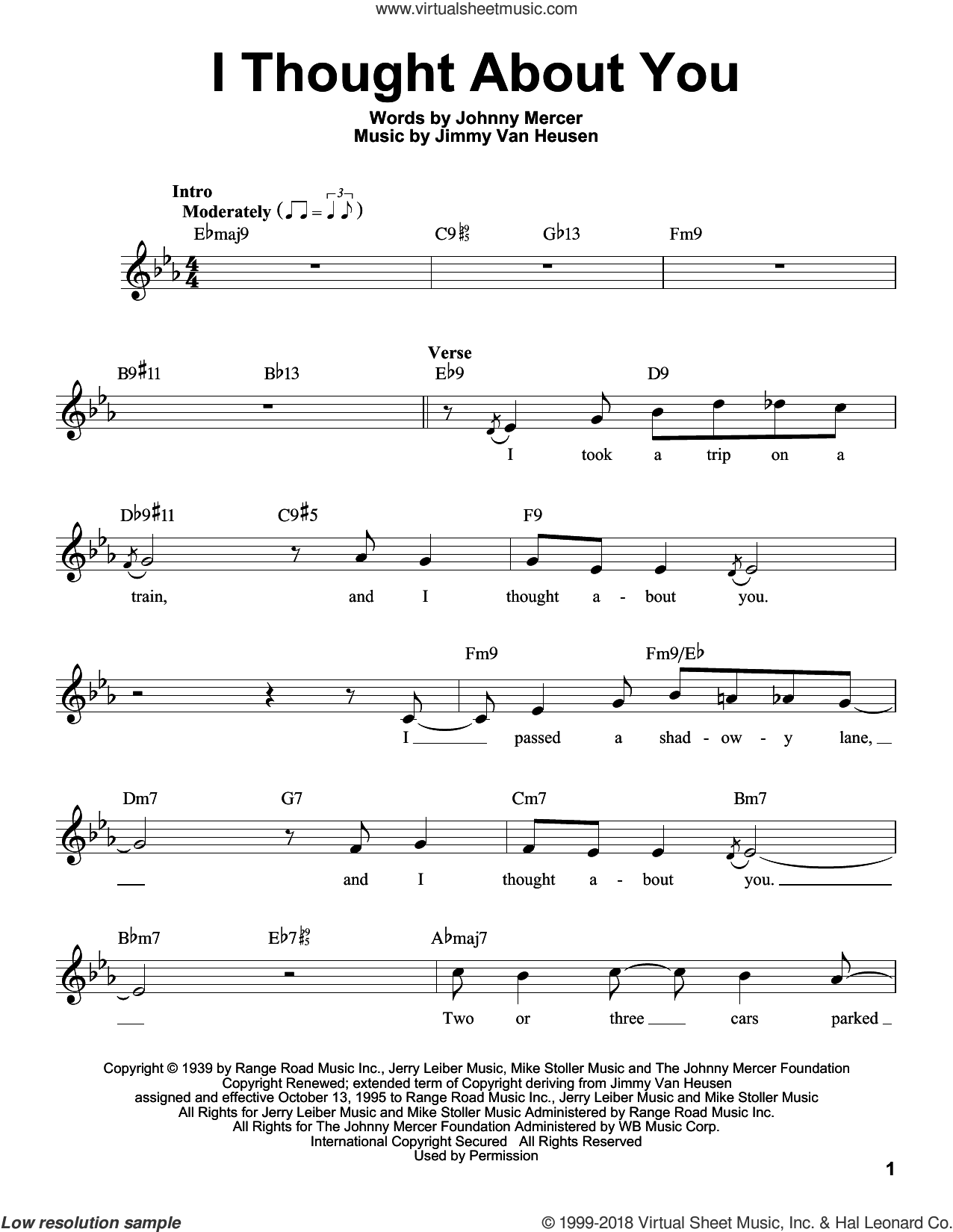 I Thought About You sheet music for voice solo by Johnny Mercer, Benny Goodman and Jimmy Van Heusen, intermediate skill level