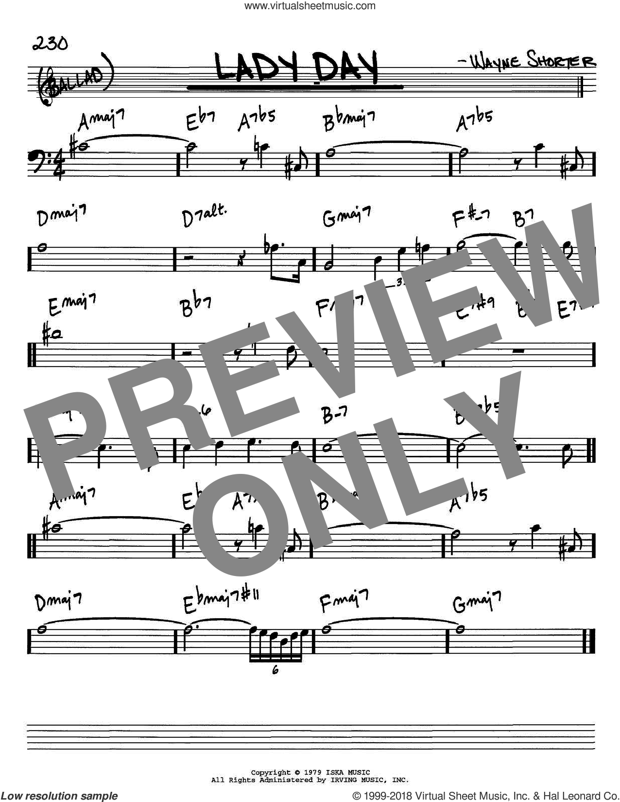 Lady Day sheet music for voice and other instruments (Bass Clef ) by Wayne Shorter, intermediate voice. Score Image Preview.