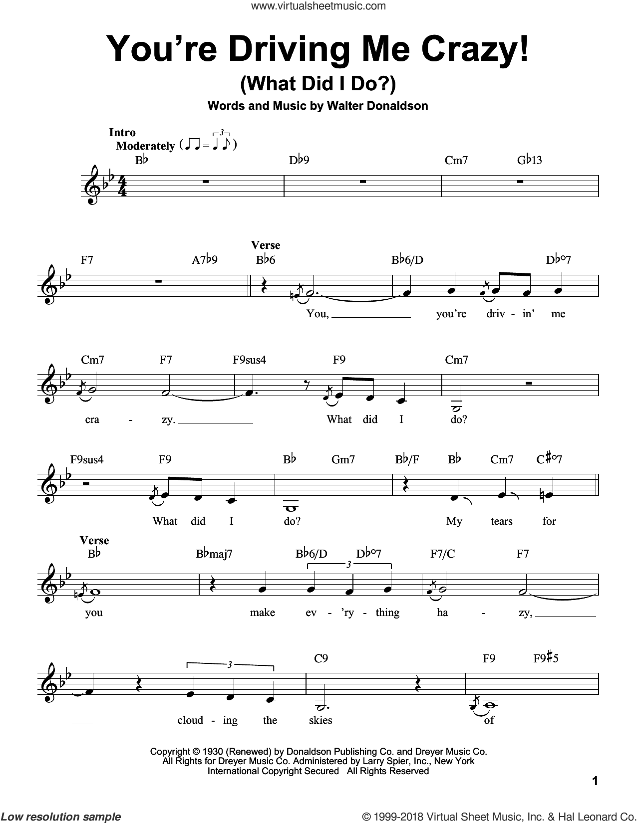 You're Driving Me Crazy! (What Did I Do?) sheet music for voice solo by Walter Donaldson, intermediate skill level