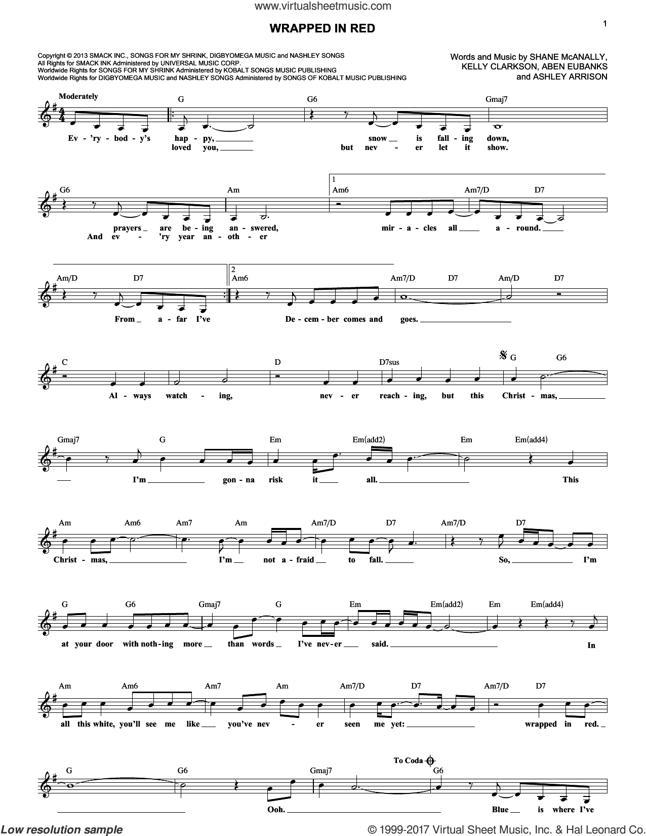 Wrapped In Red sheet music for voice and other instruments (fake book) by Kelly Clarkson, Aben Eubanks, Ashley Arrison and Shane McAnally, intermediate skill level