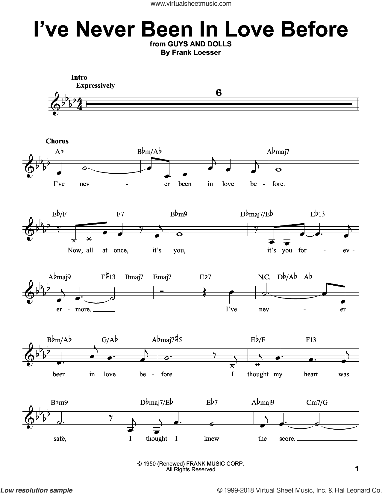 I've Never Been In Love Before sheet music for voice solo by Frank Loesser, Billy Eckstine, Chet Baker and Stan Kenton, intermediate skill level
