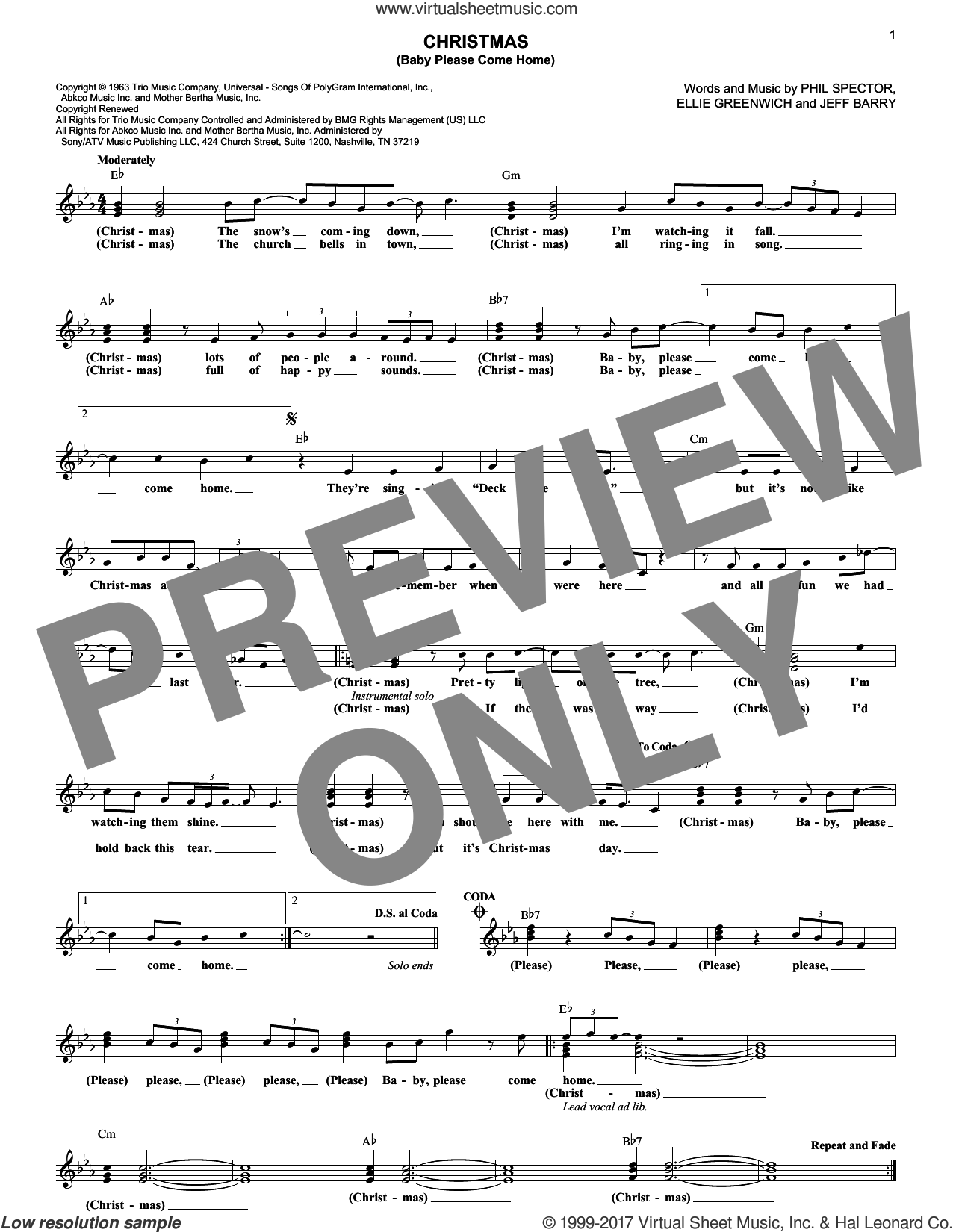 Christmas (Baby Please Come Home) sheet music for voice and other instruments (fake book) by Mariah Carey, Ellie Greenwich, Jeff Barry and Phil Spector, intermediate. Score Image Preview.