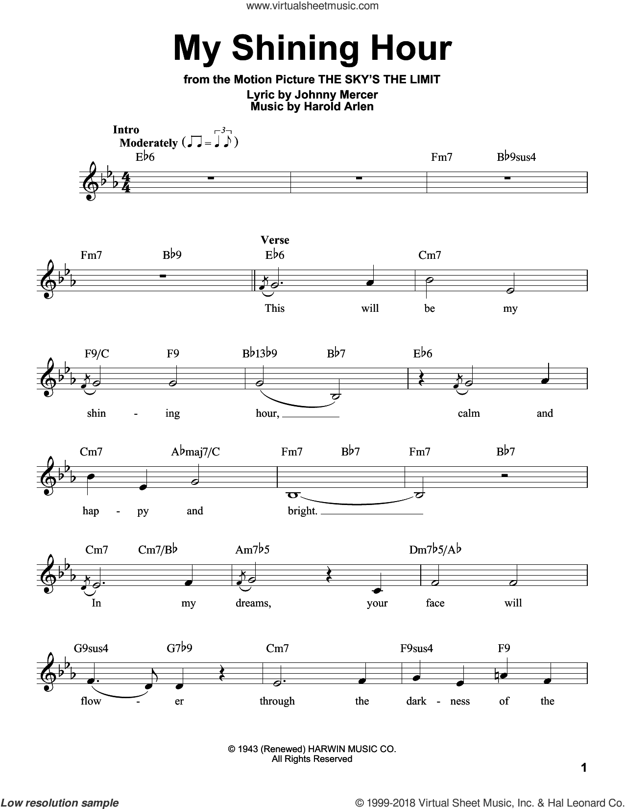 My Shining Hour sheet music for voice solo by Johnny Mercer and Harold Arlen, intermediate skill level