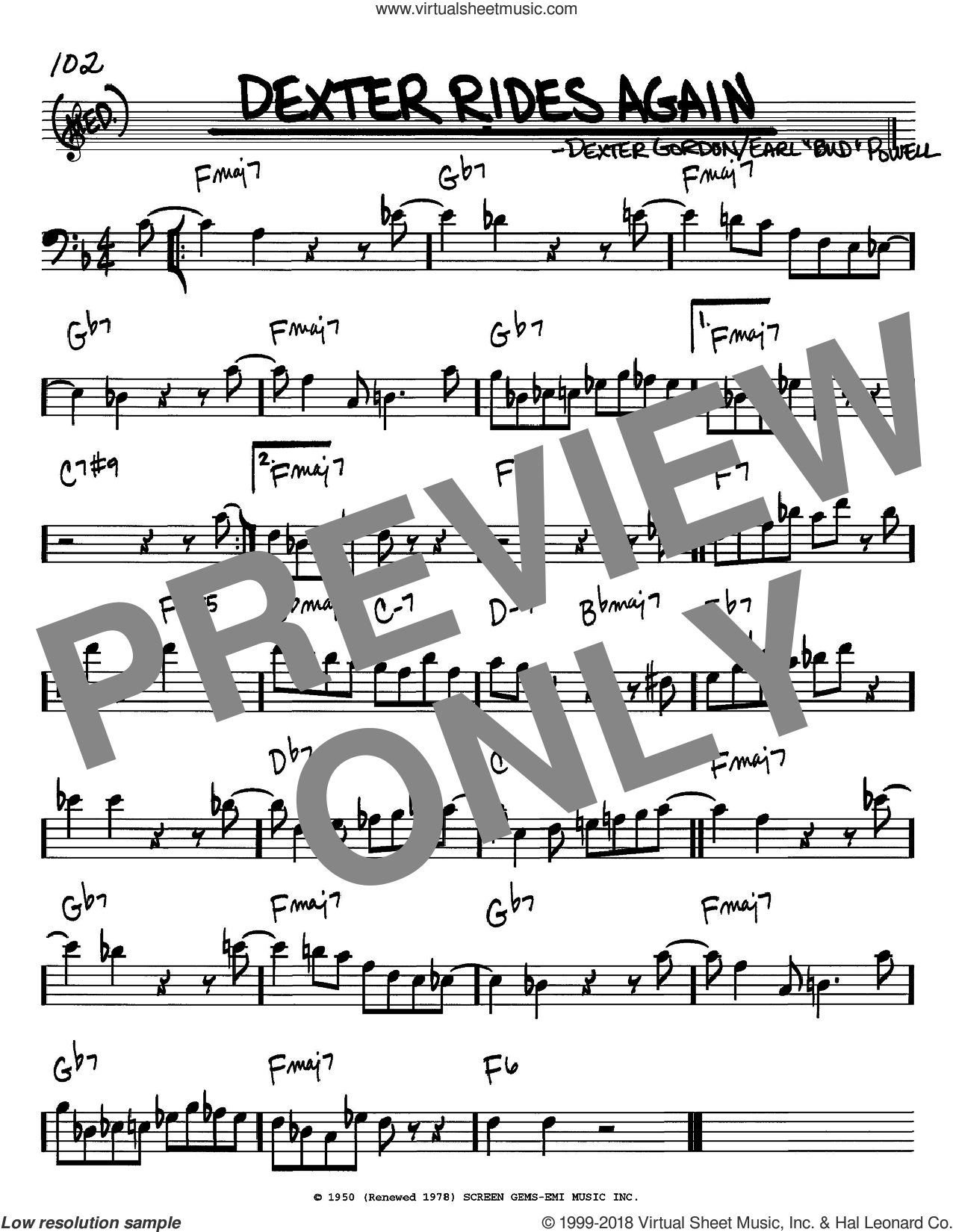 Dexter Rides Again sheet music for voice and other instruments (bass clef) by Dexter Gordon and Bud Powell, intermediate skill level