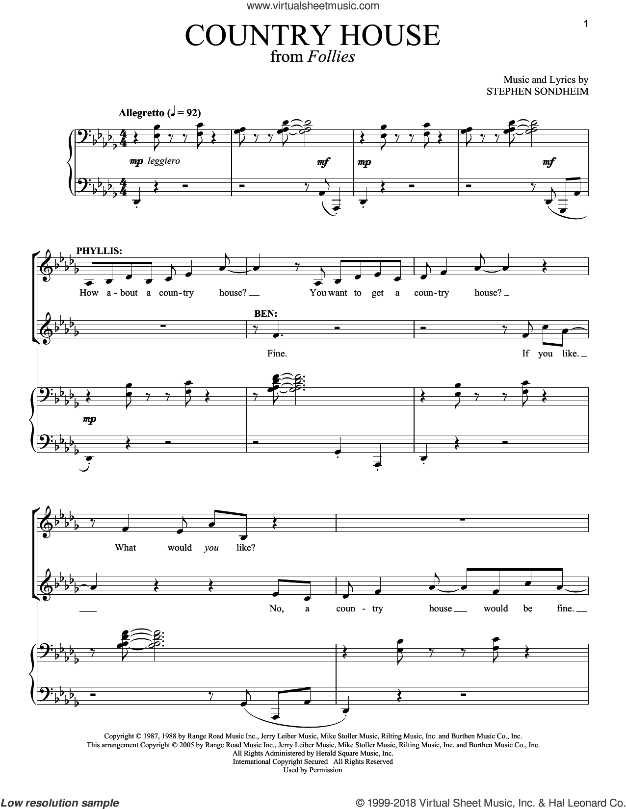 Country House (1987) sheet music for two voices and piano by Stephen Sondheim, intermediate skill level