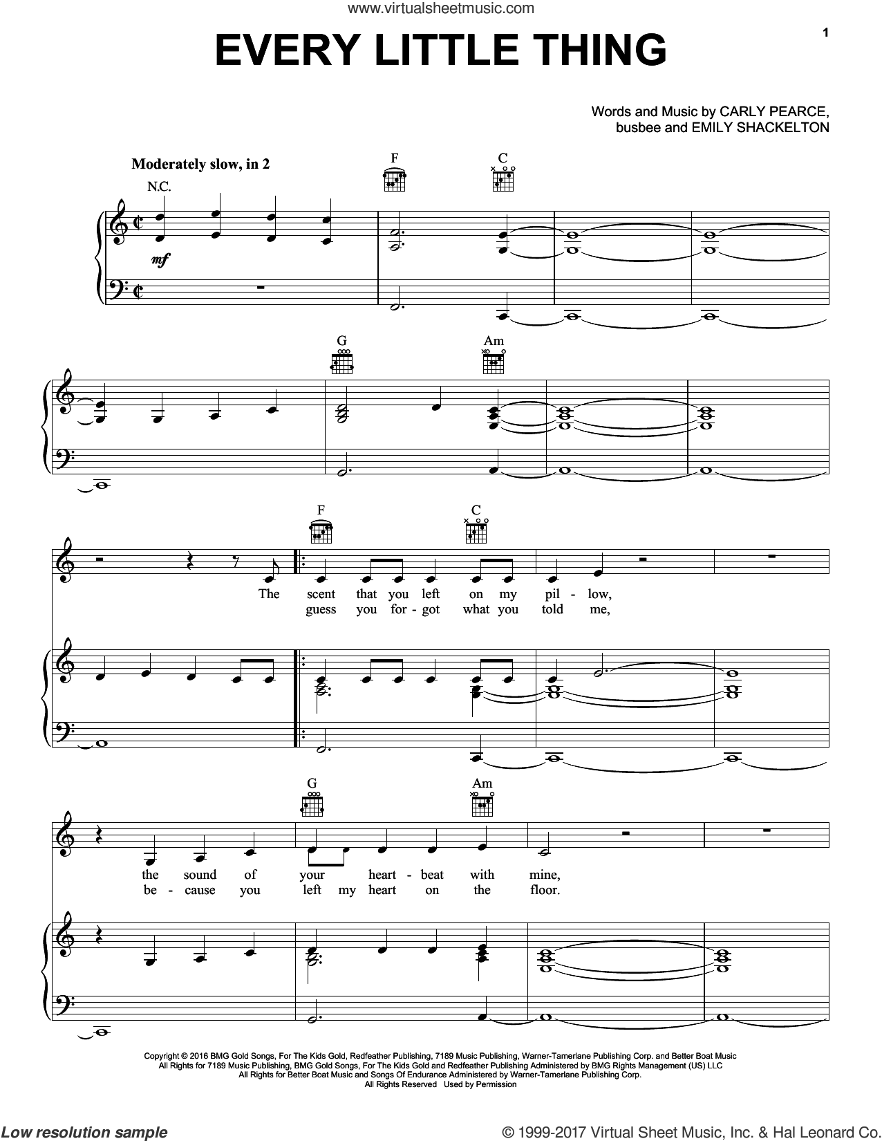 Every Little Thing sheet music for voice, piano or guitar by Carly Pearce, busbee and Emily Shackelton, intermediate skill level