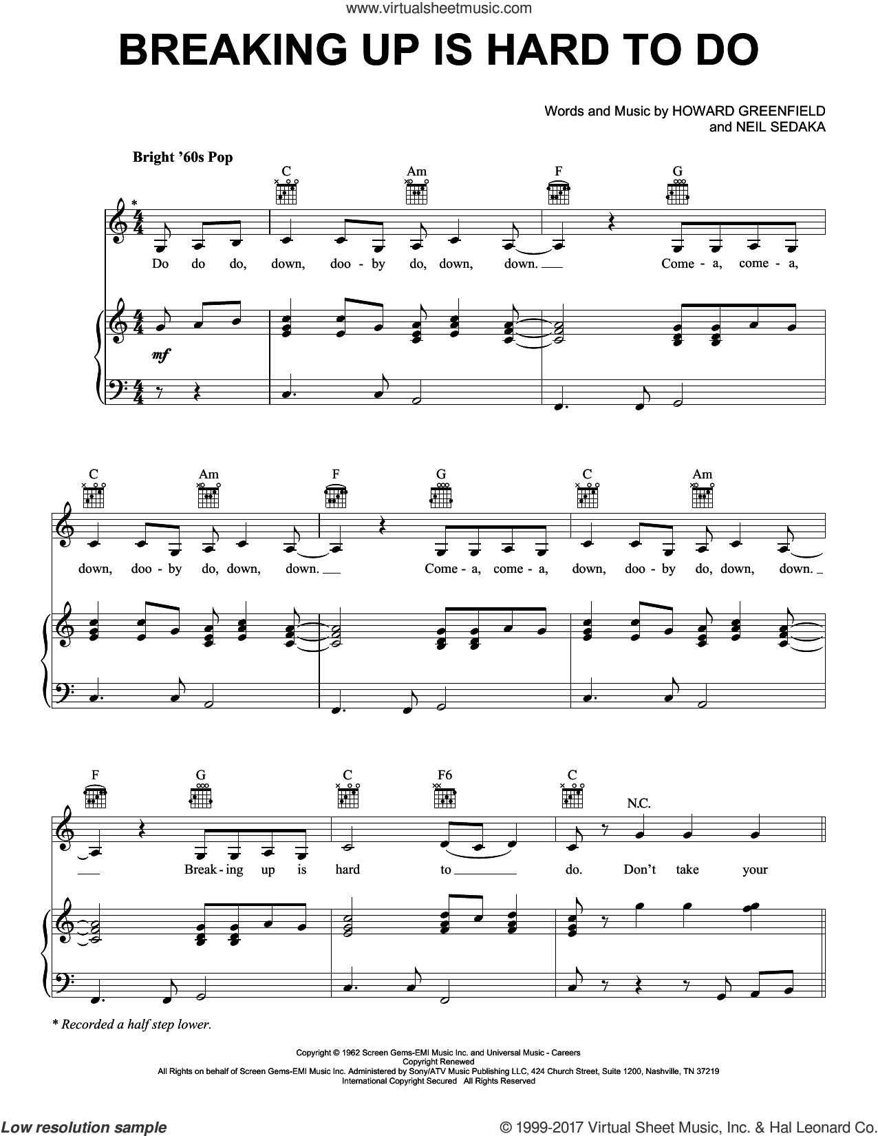 Breaking Up Is Hard To Do sheet music for voice, piano or guitar by Neil Sedaka, Partridge Family and Howard Greenfield, intermediate skill level