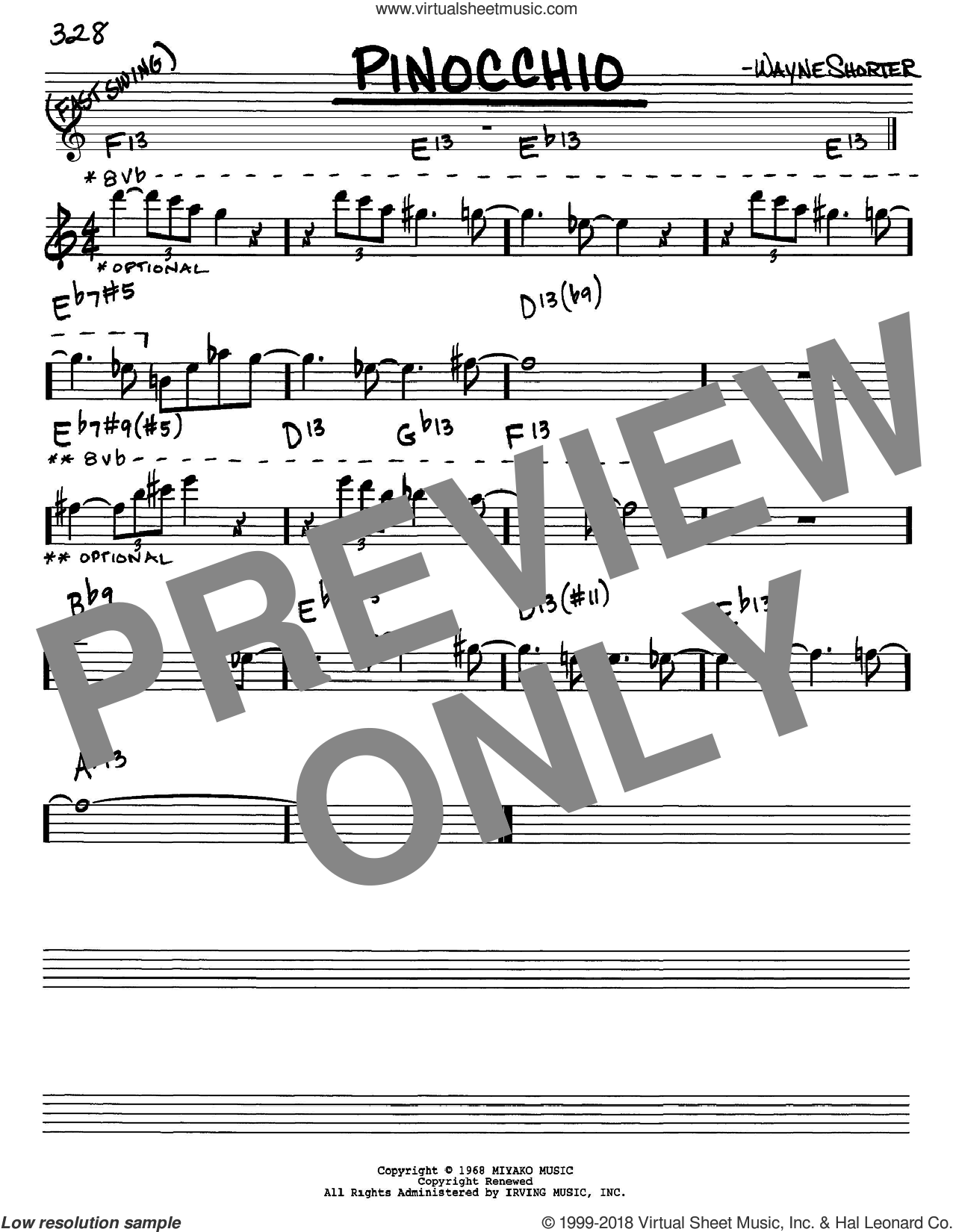 Pinocchio sheet music for voice and other instruments (Eb) by Wayne Shorter. Score Image Preview.