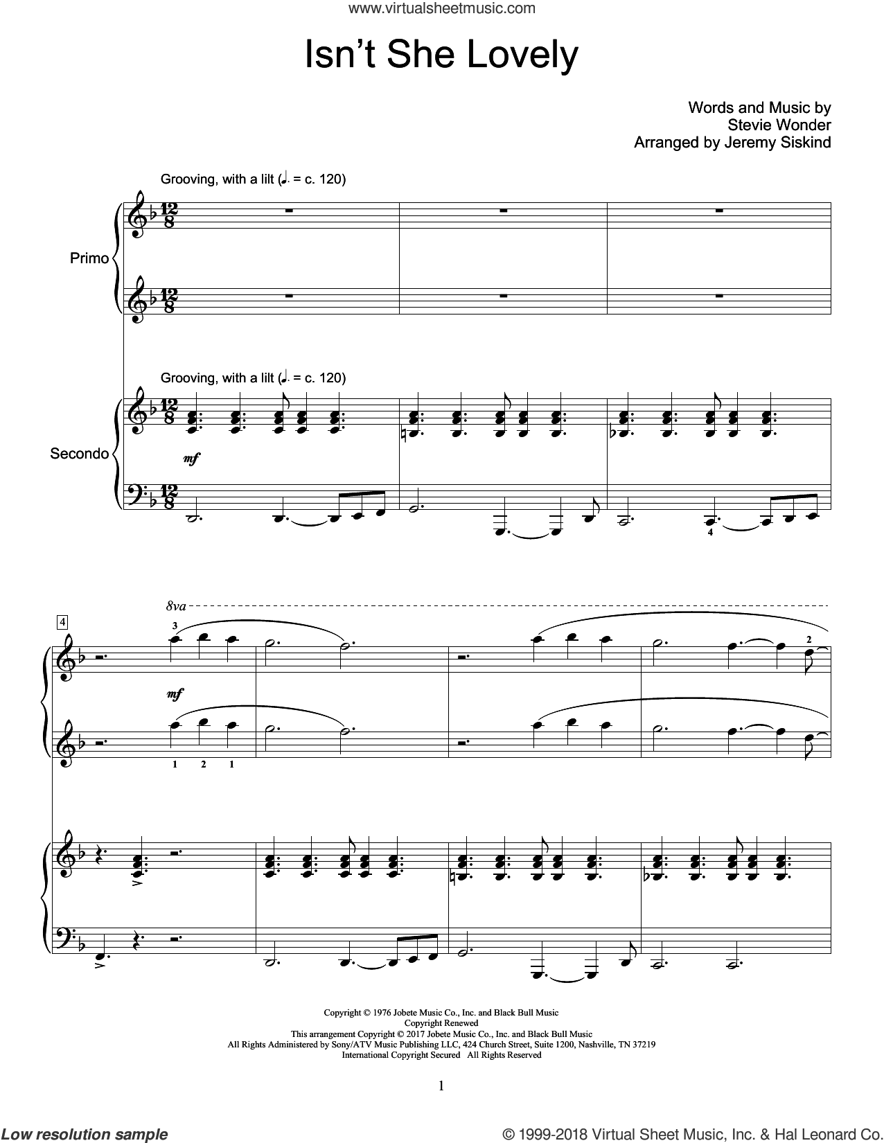 Isn't She Lovely sheet music for piano four hands by Stevie Wonder and Jeremy Siskind, intermediate. Score Image Preview.