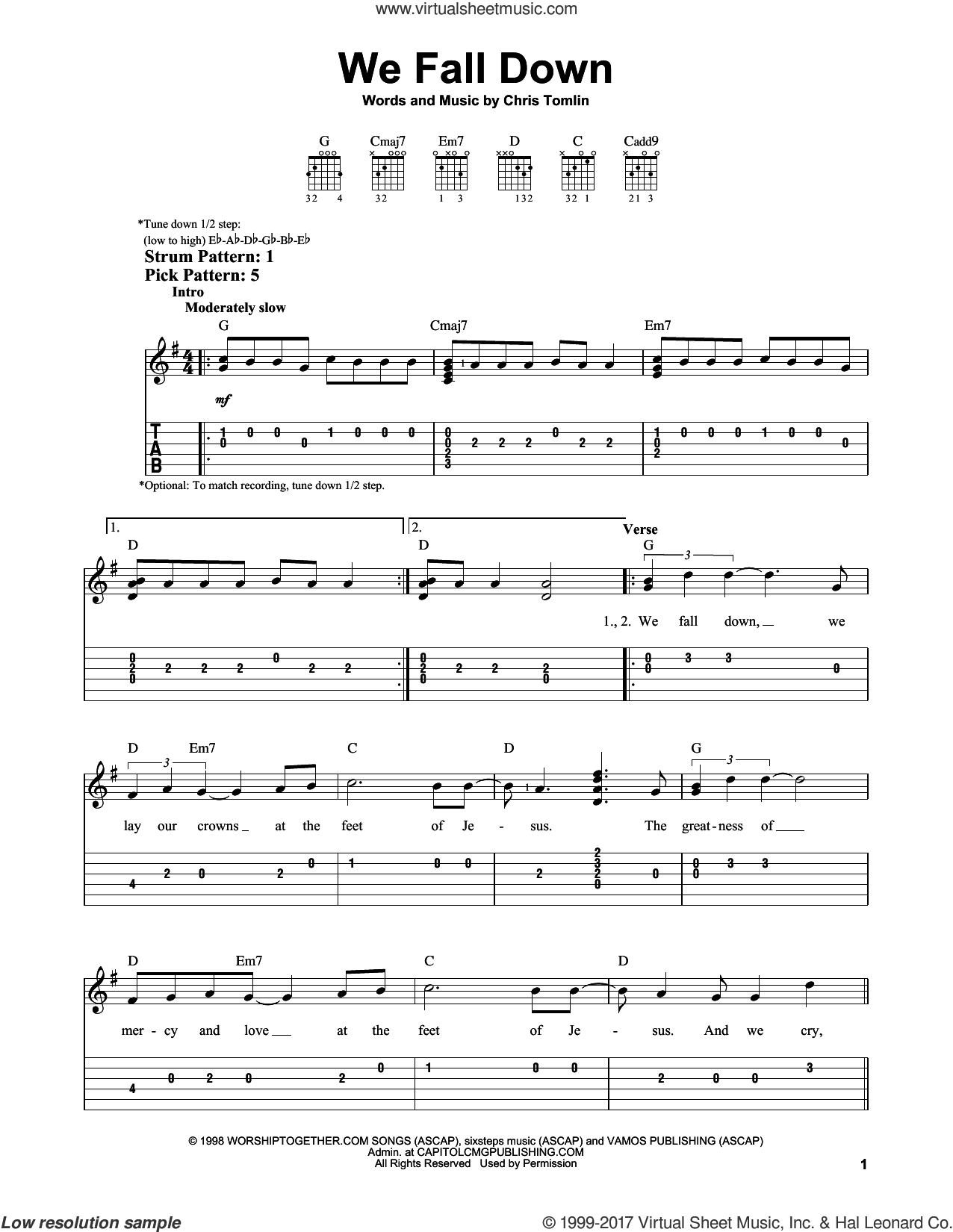 We Fall Down sheet music for guitar solo (easy tablature) by Chris Tomlin, Kutless and Passion, easy guitar (easy tablature)