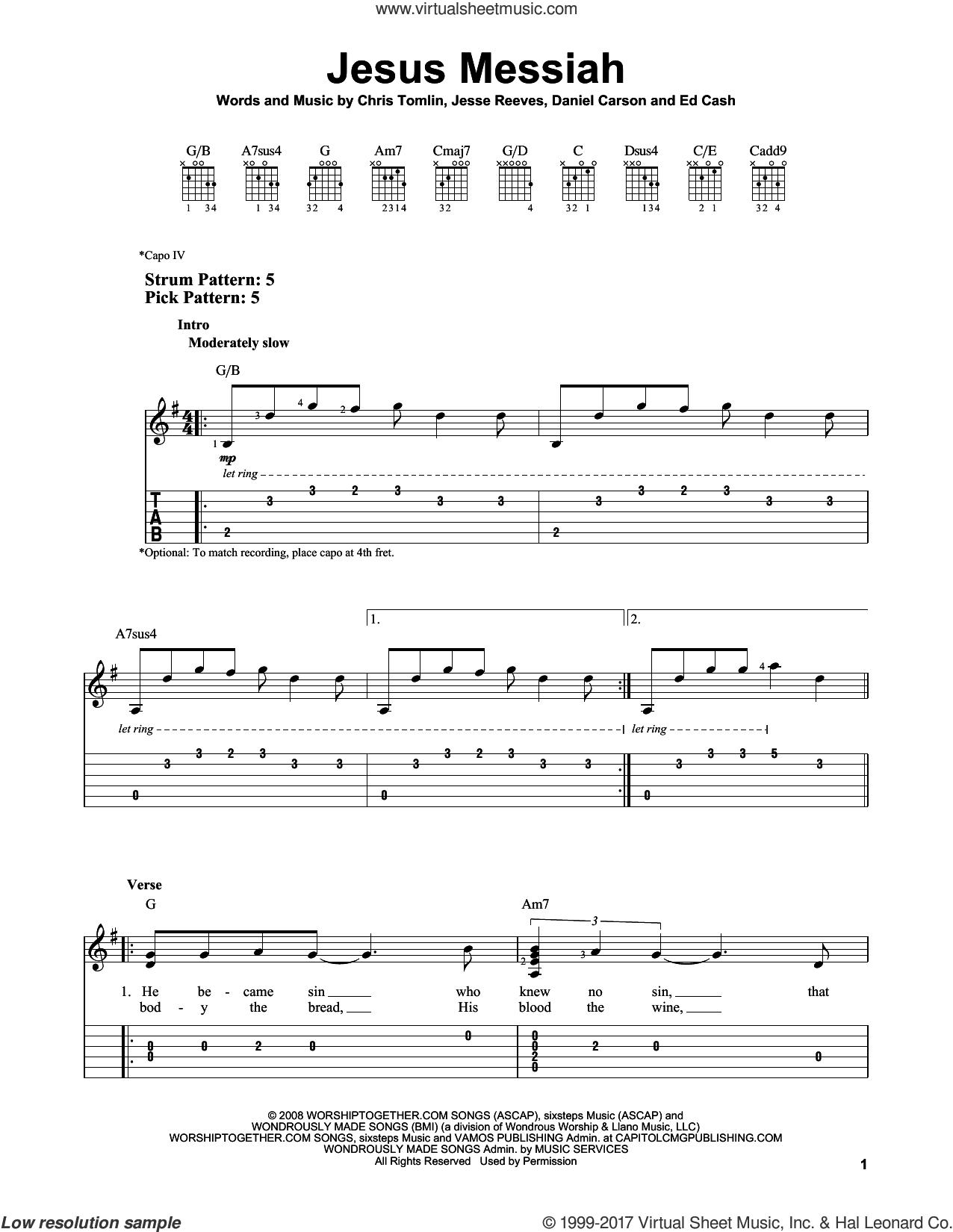 Jesus Messiah sheet music for guitar solo (easy tablature) by Chris Tomlin, Daniel Carson, Ed Cash and Jesse Reeves, easy guitar (easy tablature)