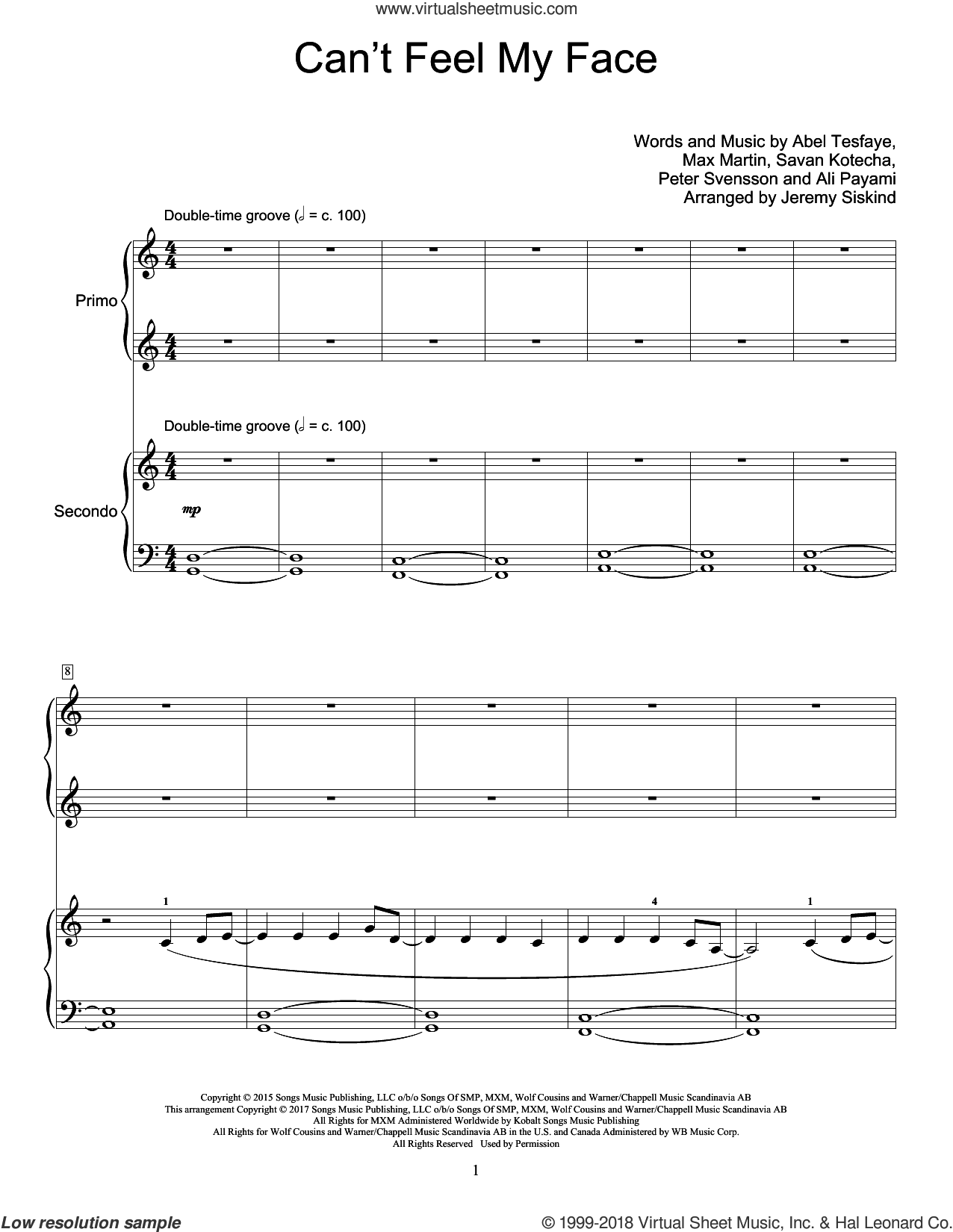 Can't Feel My Face sheet music for piano four hands by The Weeknd, Jeremy Siskind, Abel Tesfaye, Ali Payami, Max Martin, Peter Svensson and Savan Kotecha, intermediate skill level