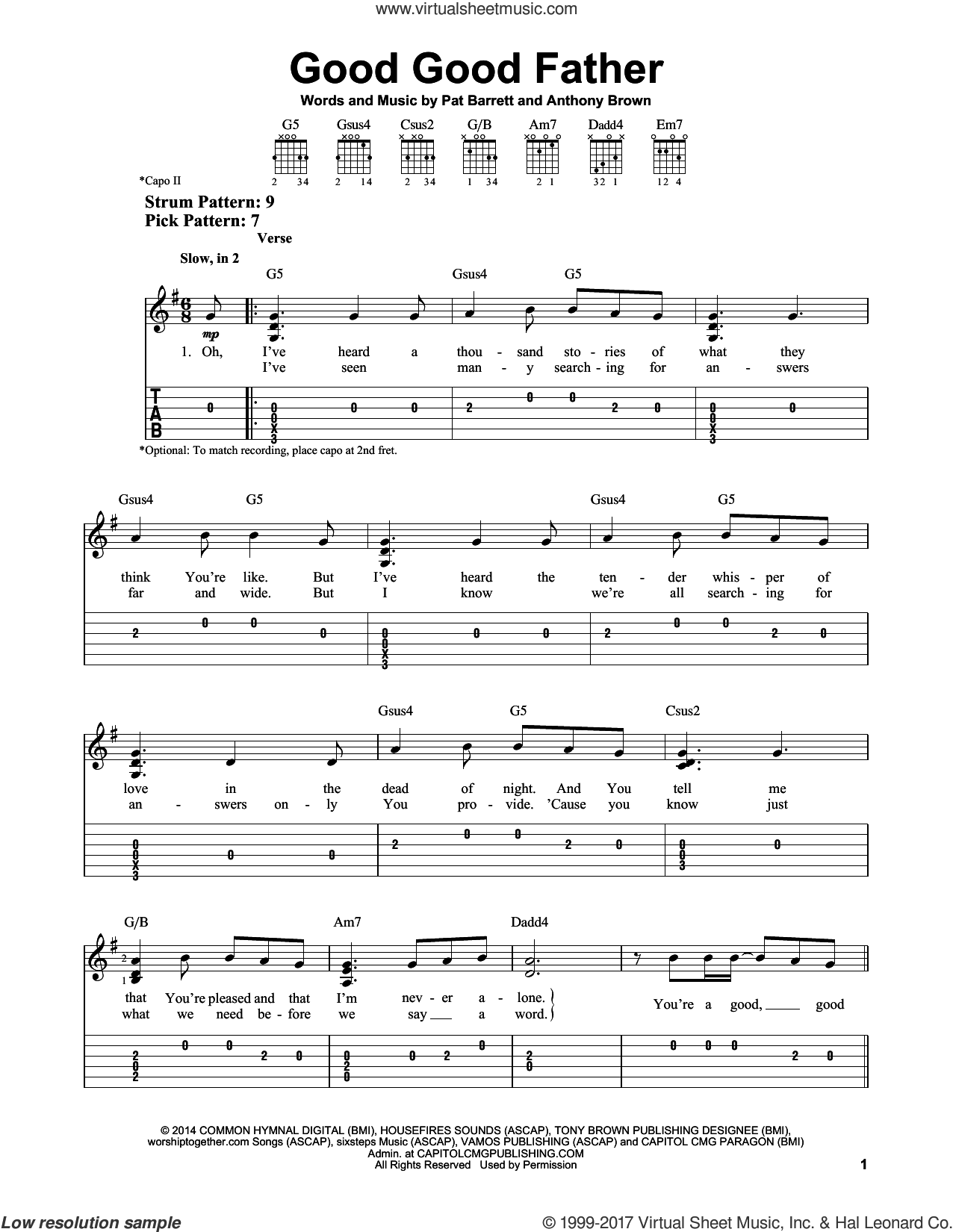 Good Good Father sheet music for guitar solo (easy tablature) by Chris Tomlin, Anthony Brown and Pat Barrett, easy guitar (easy tablature)