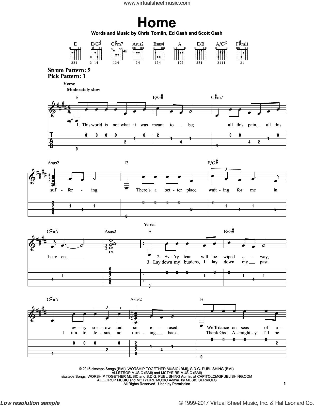 Home sheet music for guitar solo (easy tablature) by Chris Tomlin, Ed Cash and Scott Cash, easy guitar (easy tablature)