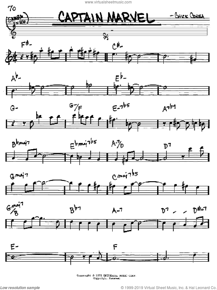 Captain Marvel sheet music for voice and other instruments (Eb) by Chick Corea