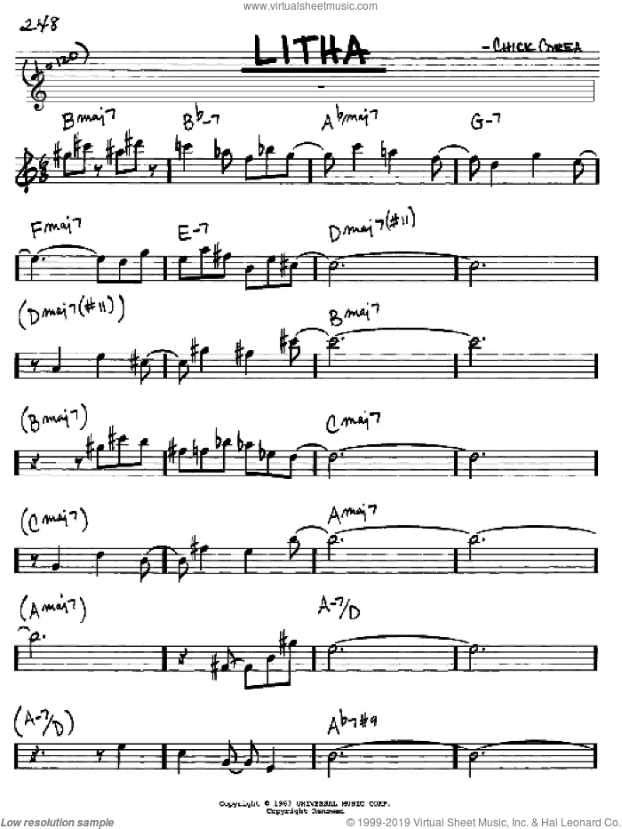 Litha sheet music for voice and other instruments (in Eb) by Chick Corea, intermediate skill level