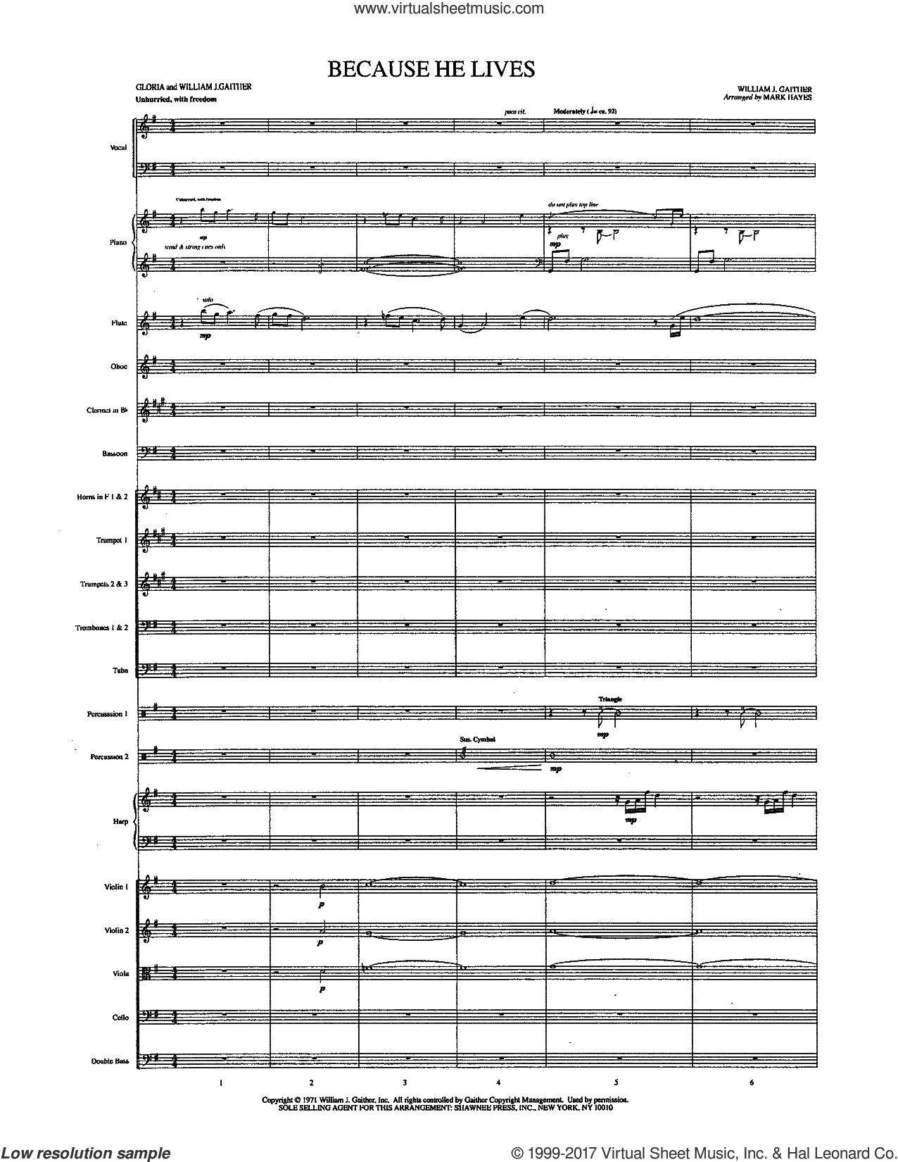 Because He Lives (COMPLETE) sheet music for orchestra/band by Mark Hayes, Gloria Gaither and William J. Gaither, intermediate skill level