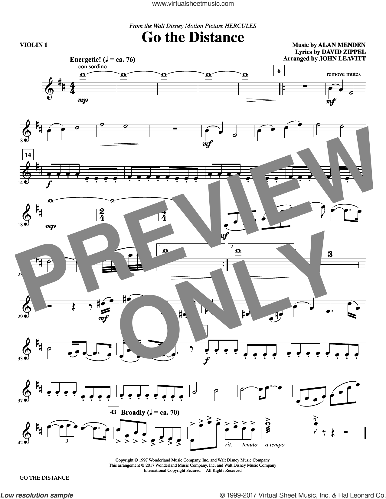 Go the Distance (complete set of parts) sheet music for orchestra/band by Alan Menken, David Zippel, John Leavitt and Michael Bolton, intermediate skill level