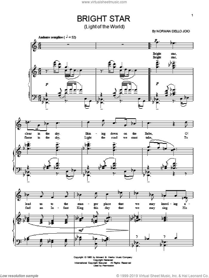 Bright Star sheet music for voice and piano by Norman Dello Joio, intermediate skill level