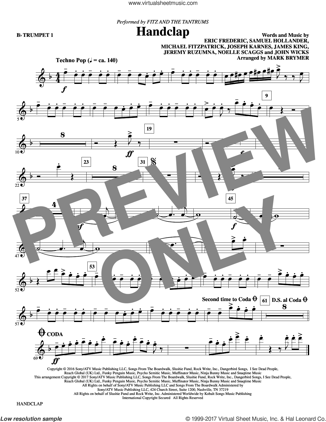 HandClap (arr. Mark Brymer) (complete set of parts) sheet music for orchestra/band by Mark Brymer, Eric Frederic, Fitz And The Tantrums, James King, Jeremy Ruzumna, John Wicks, Joseph Karnes, Michael Fitzpatrick, Noelle Scaggs and Sam Hollander, intermediate skill level
