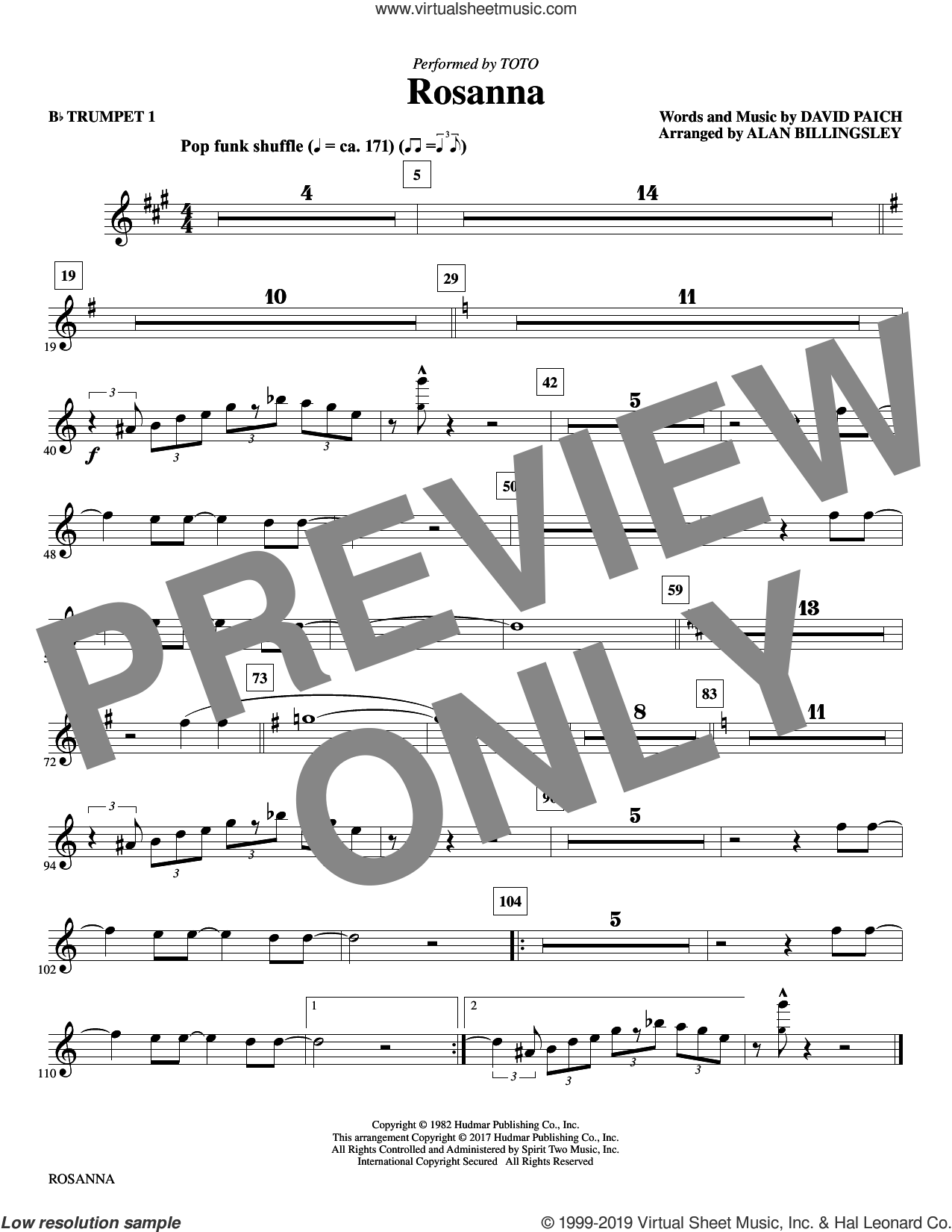 Rosanna (complete set of parts) sheet music for orchestra/band by Alan Billingsley, David Paich and Toto, intermediate skill level