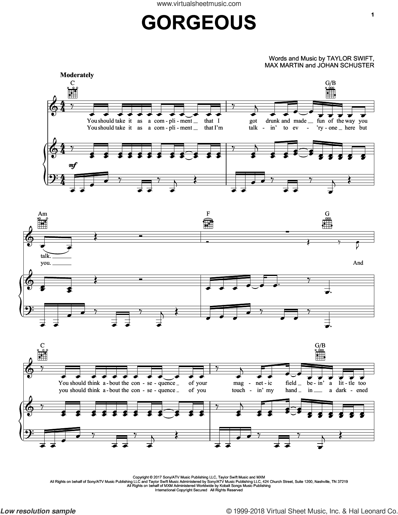 Gorgeous sheet music for voice, piano or guitar by Taylor Swift, Johan Schuster and Max Martin, intermediate skill level