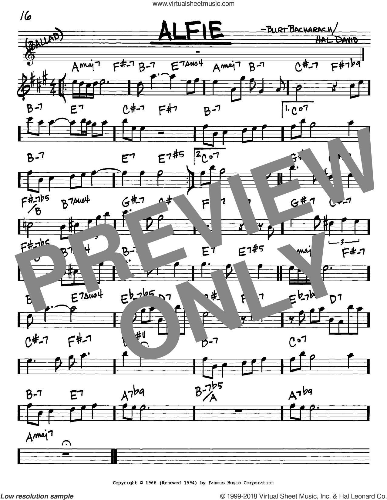 Alfie sheet music for voice and other instruments (Eb) by Hal David
