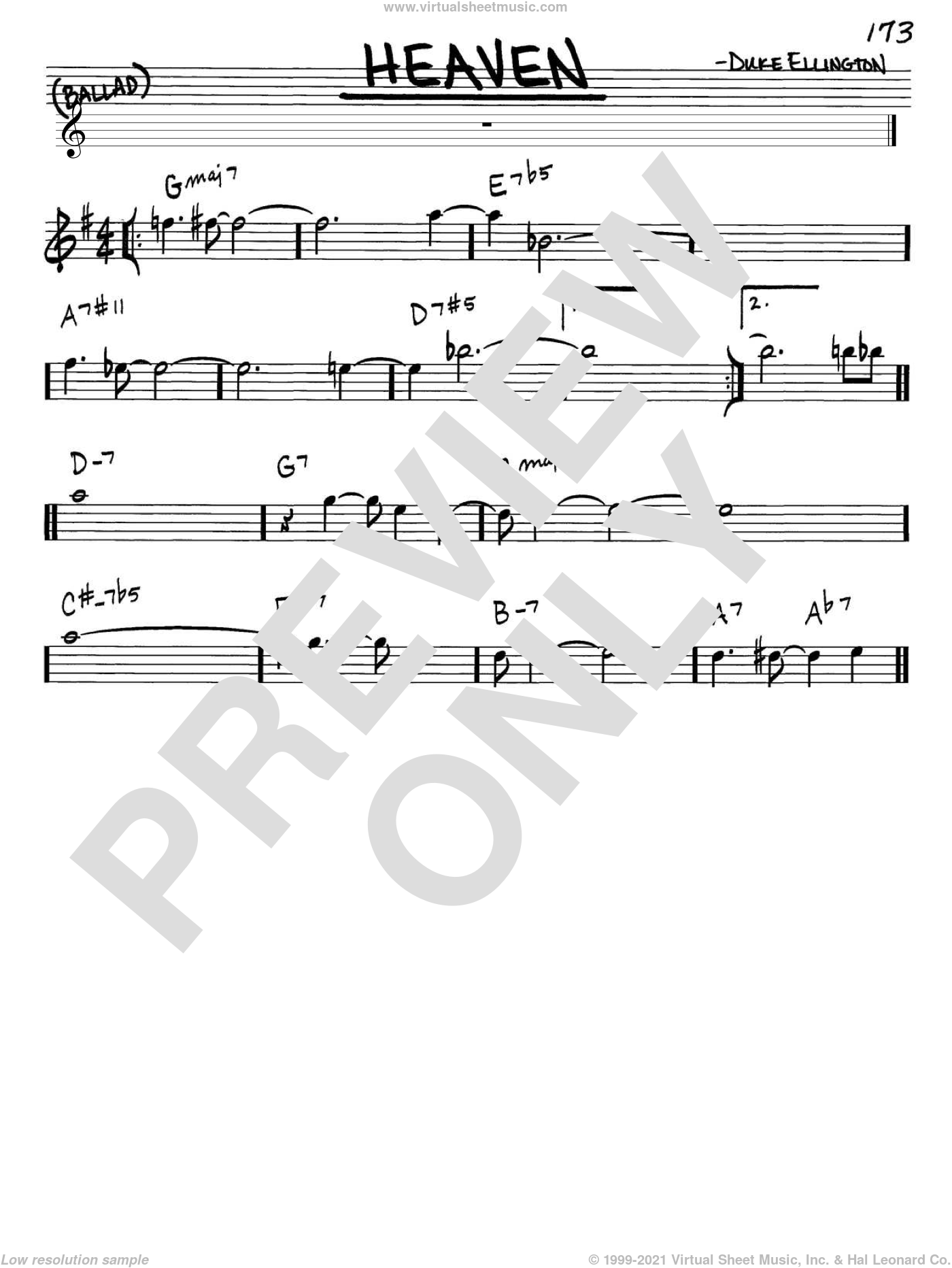 Heaven sheet music for voice and other instruments (Eb) by Duke Ellington, intermediate voice. Score Image Preview.