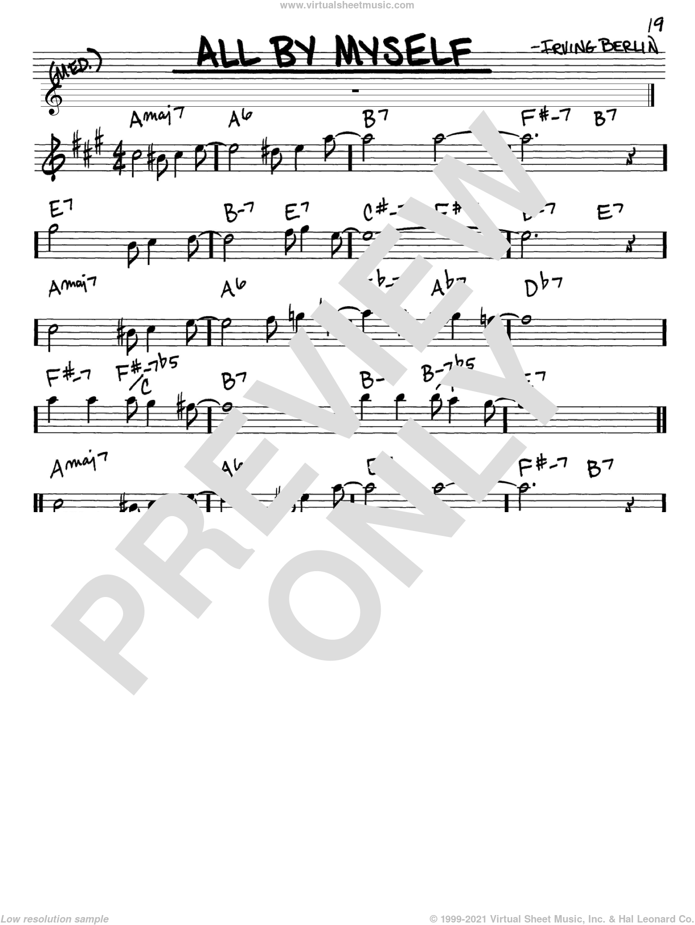All By Myself sheet music for voice and other instruments (in Eb) by Irving Berlin, Bing Crosby, Frank Crumit and Ted Lewis, intermediate skill level