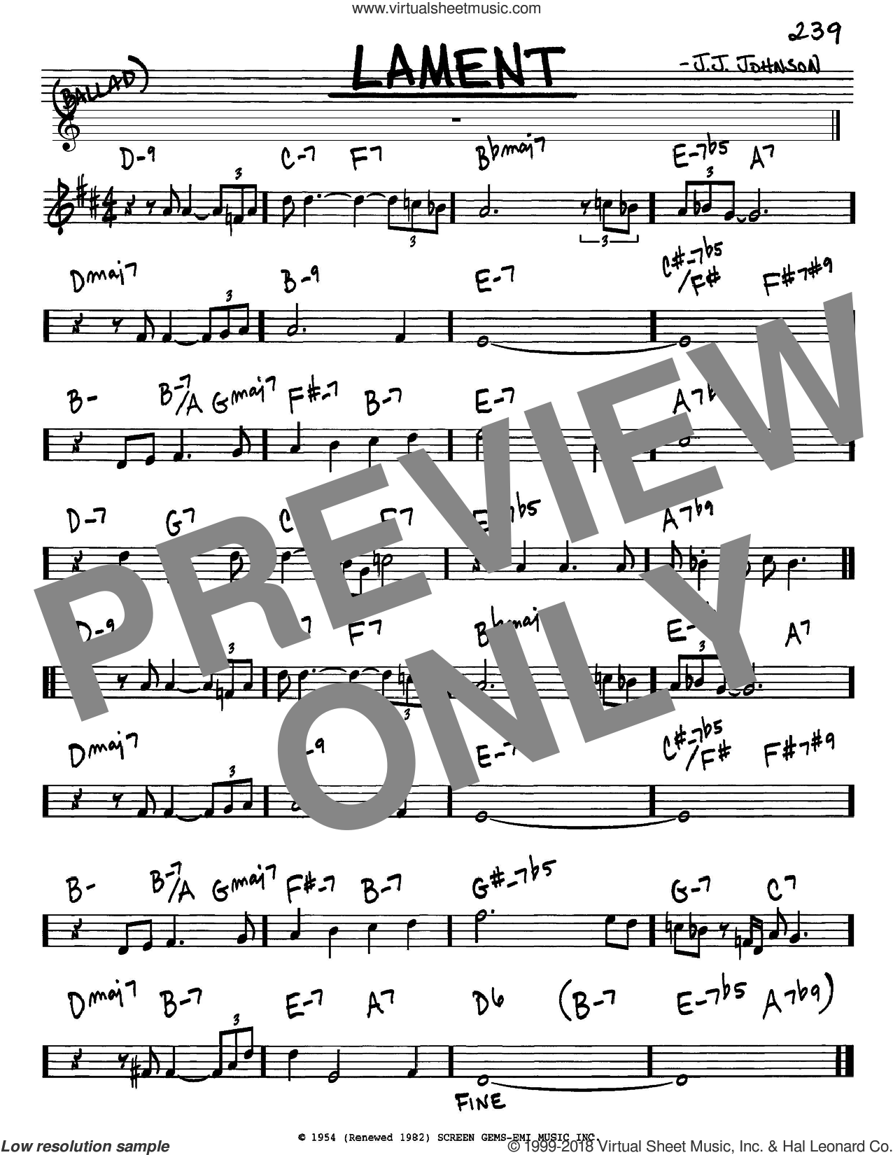 Lament sheet music for voice and other instruments (in Eb) by Jack Johnson, intermediate skill level