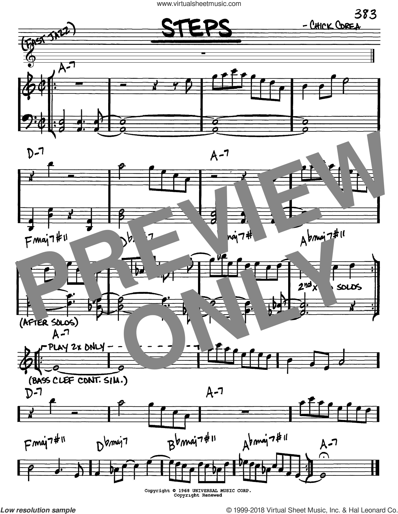 Steps sheet music for voice and other instruments (Eb) by Chick Corea, intermediate voice. Score Image Preview.