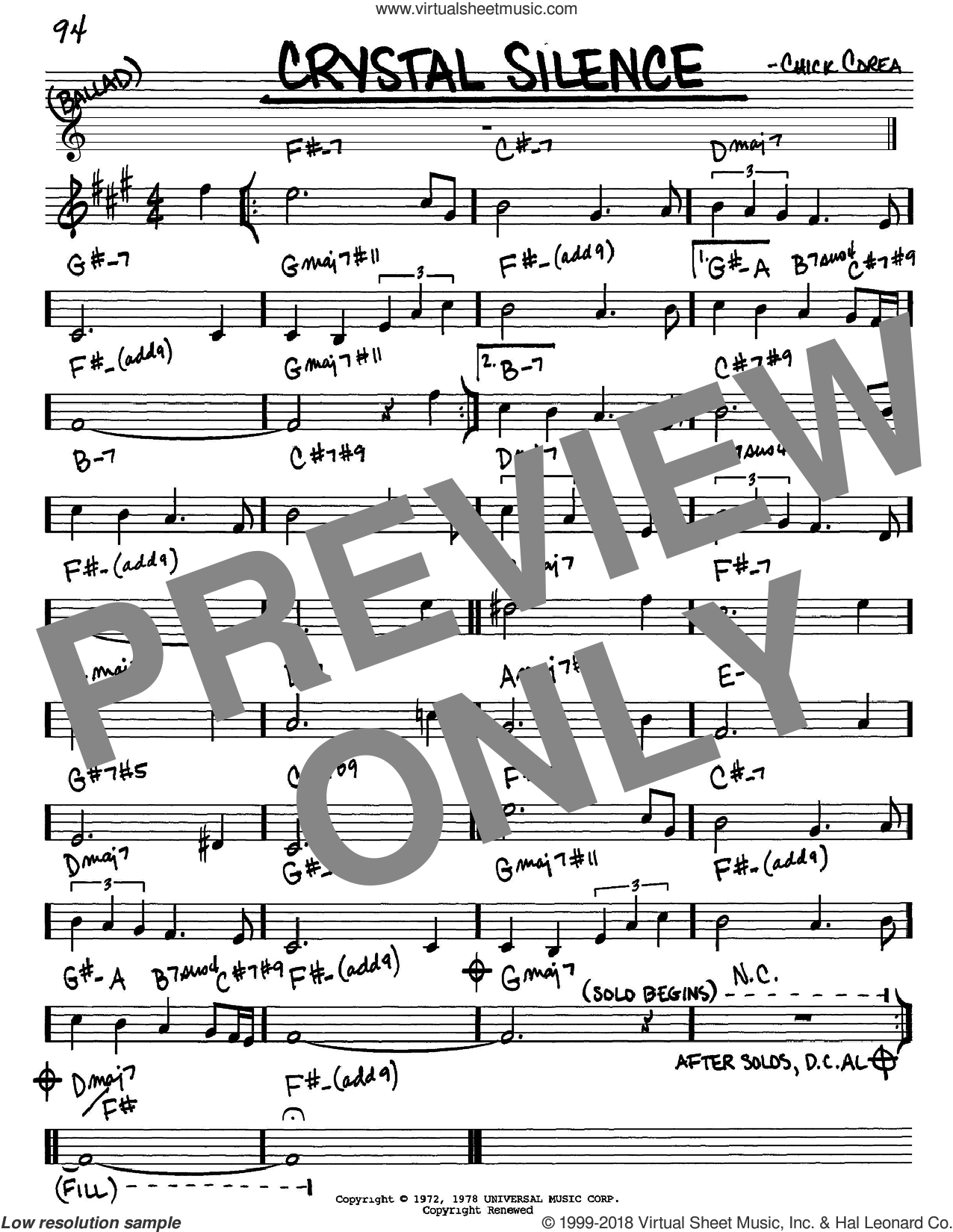 Crystal Silence sheet music for voice and other instruments (in Eb) by Chick Corea and Neville Potter, intermediate skill level