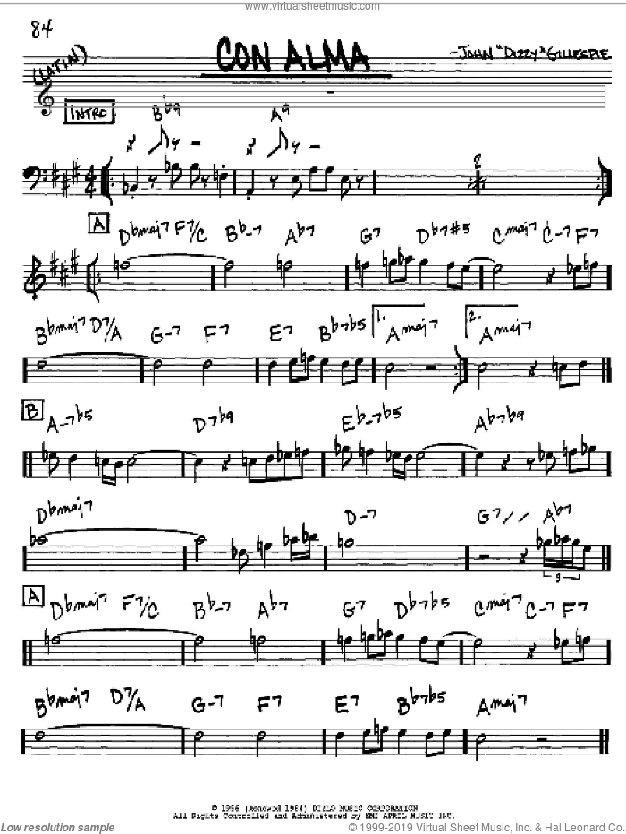 Con Alma sheet music for voice and other instruments (in Eb) by Dizzy Gillespie, intermediate. Score Image Preview.