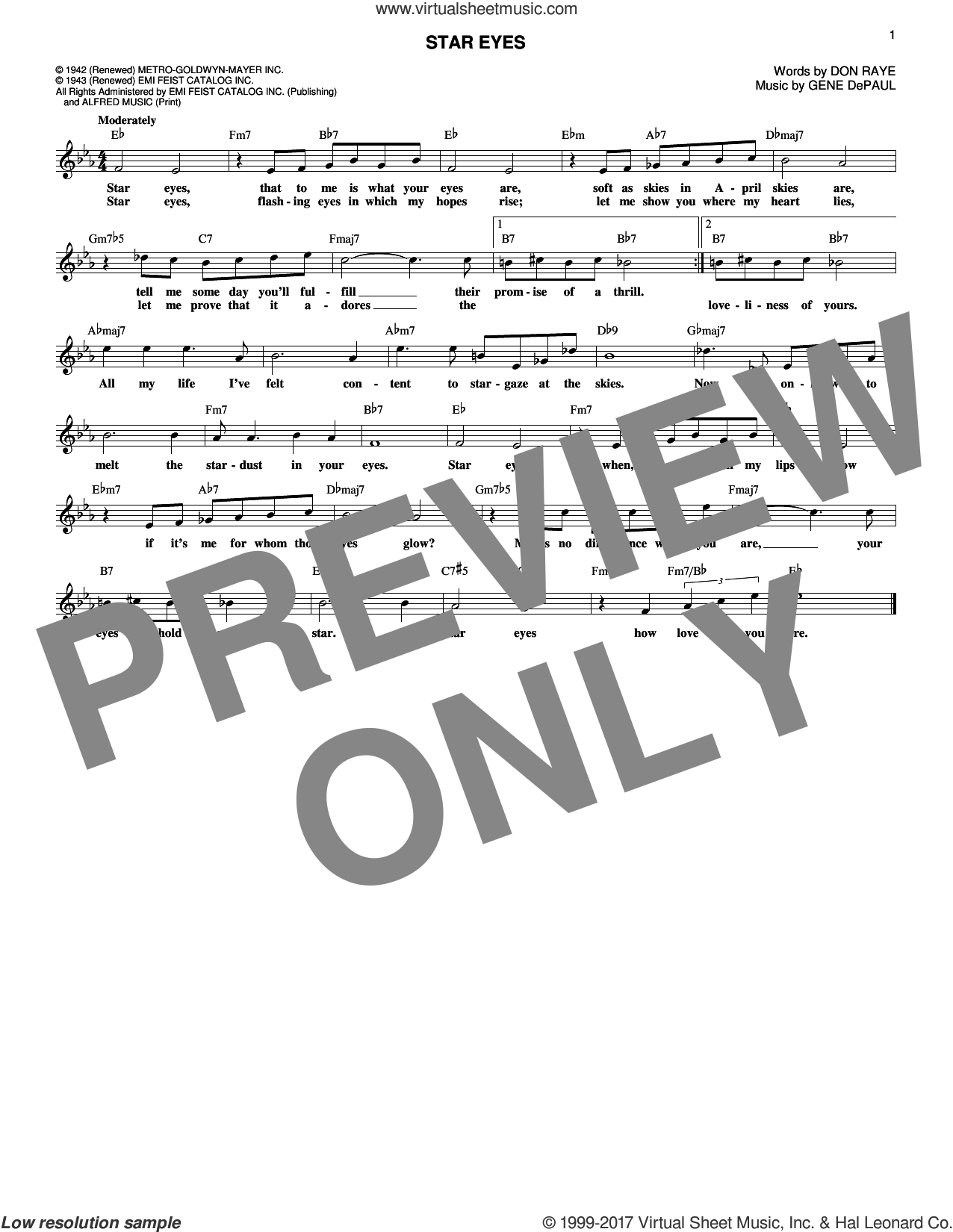 Star Eyes sheet music for voice and other instruments (fake book) by Charlie Parker, Don Raye and Gene DePaul, intermediate skill level