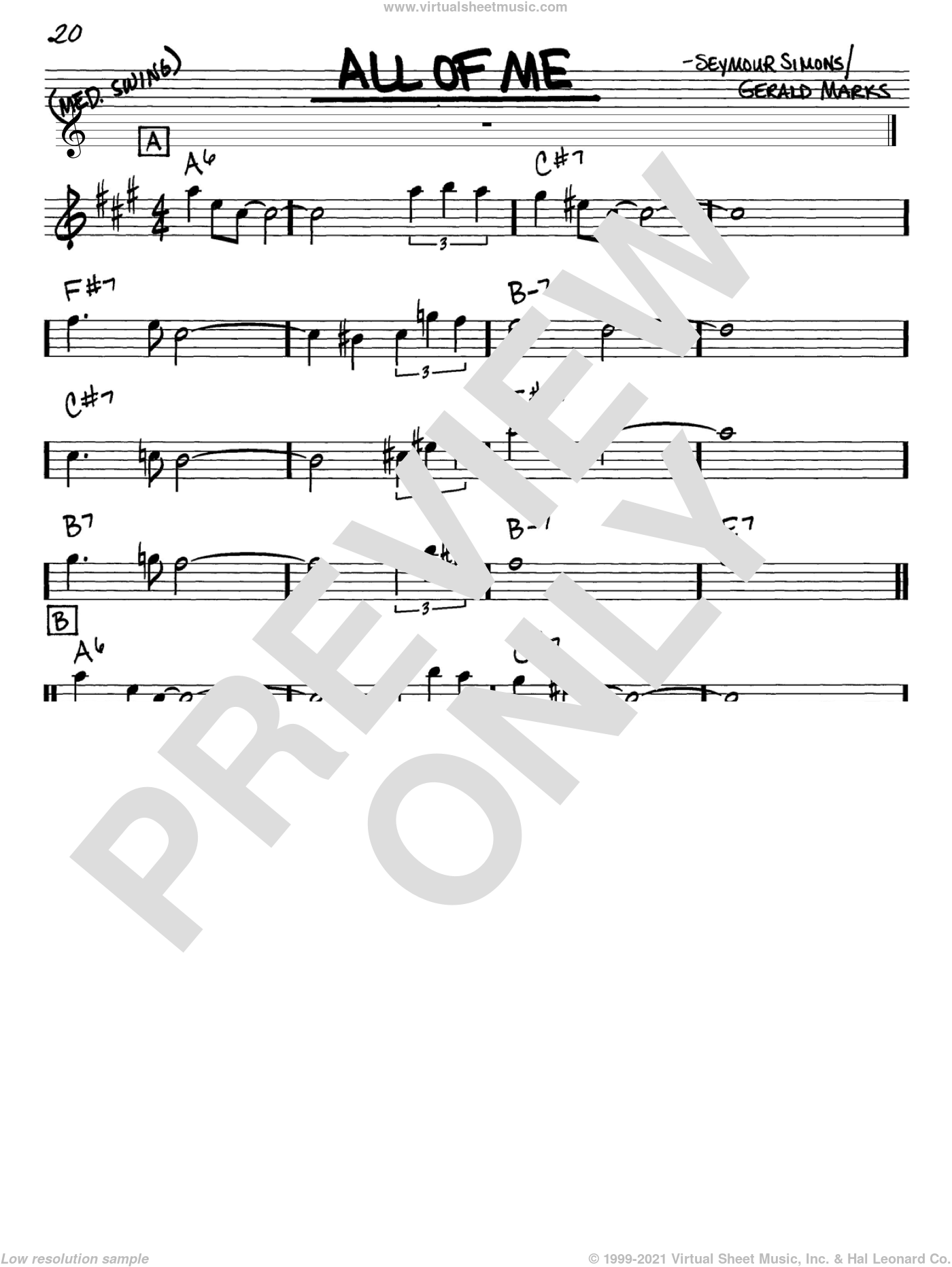 All Of Me sheet music for voice and other instruments (Eb) by Seymour Simons