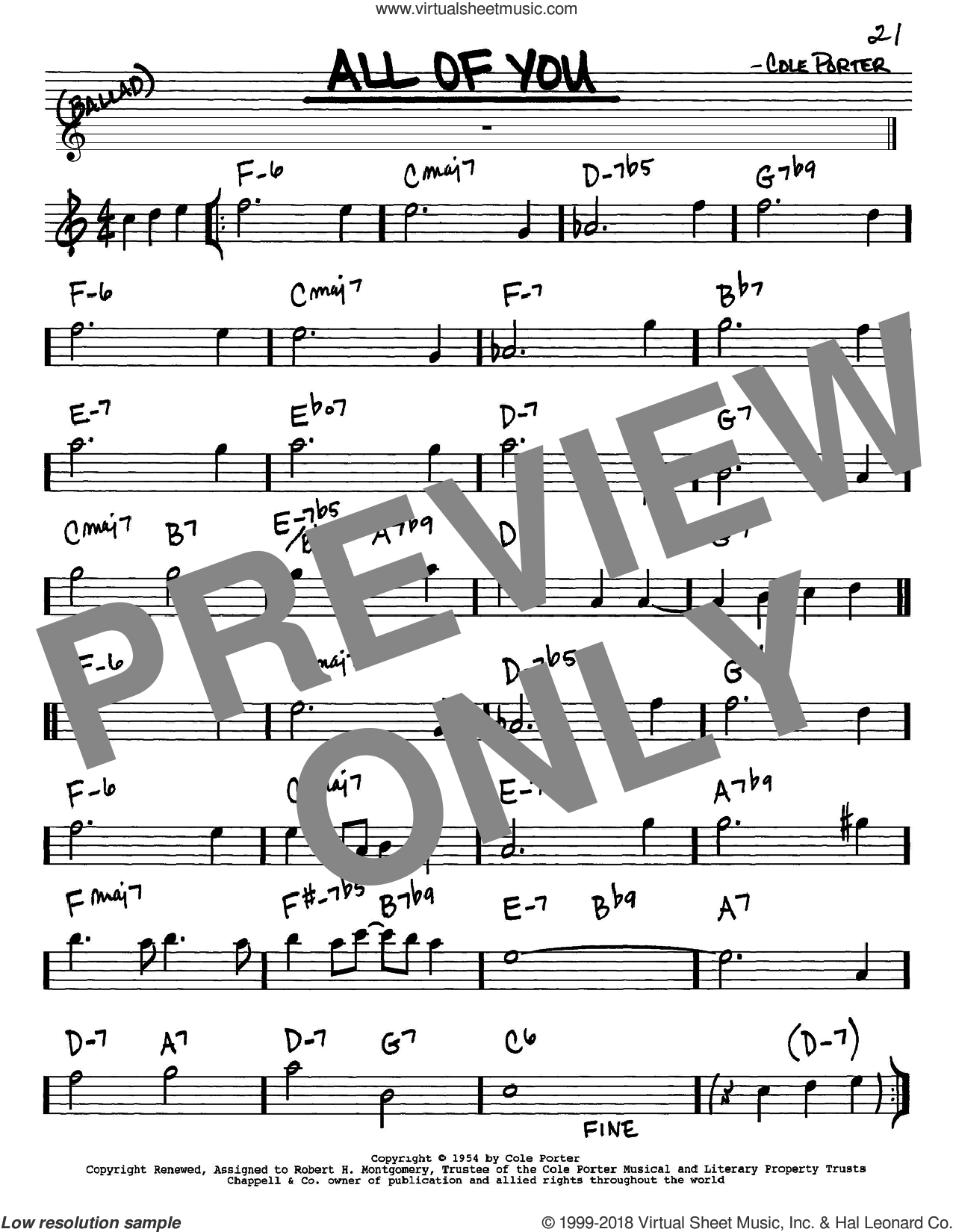 All Of You sheet music for voice and other instruments (Eb) by Cole Porter. Score Image Preview.