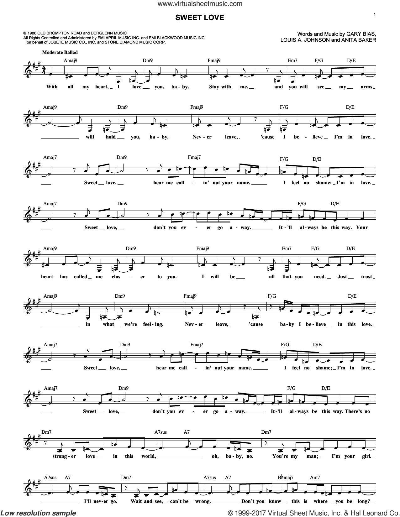 Sweet Love sheet music for voice and other instruments (fake book) by Anita Baker, Gary Bias and Louis Johnson, intermediate skill level