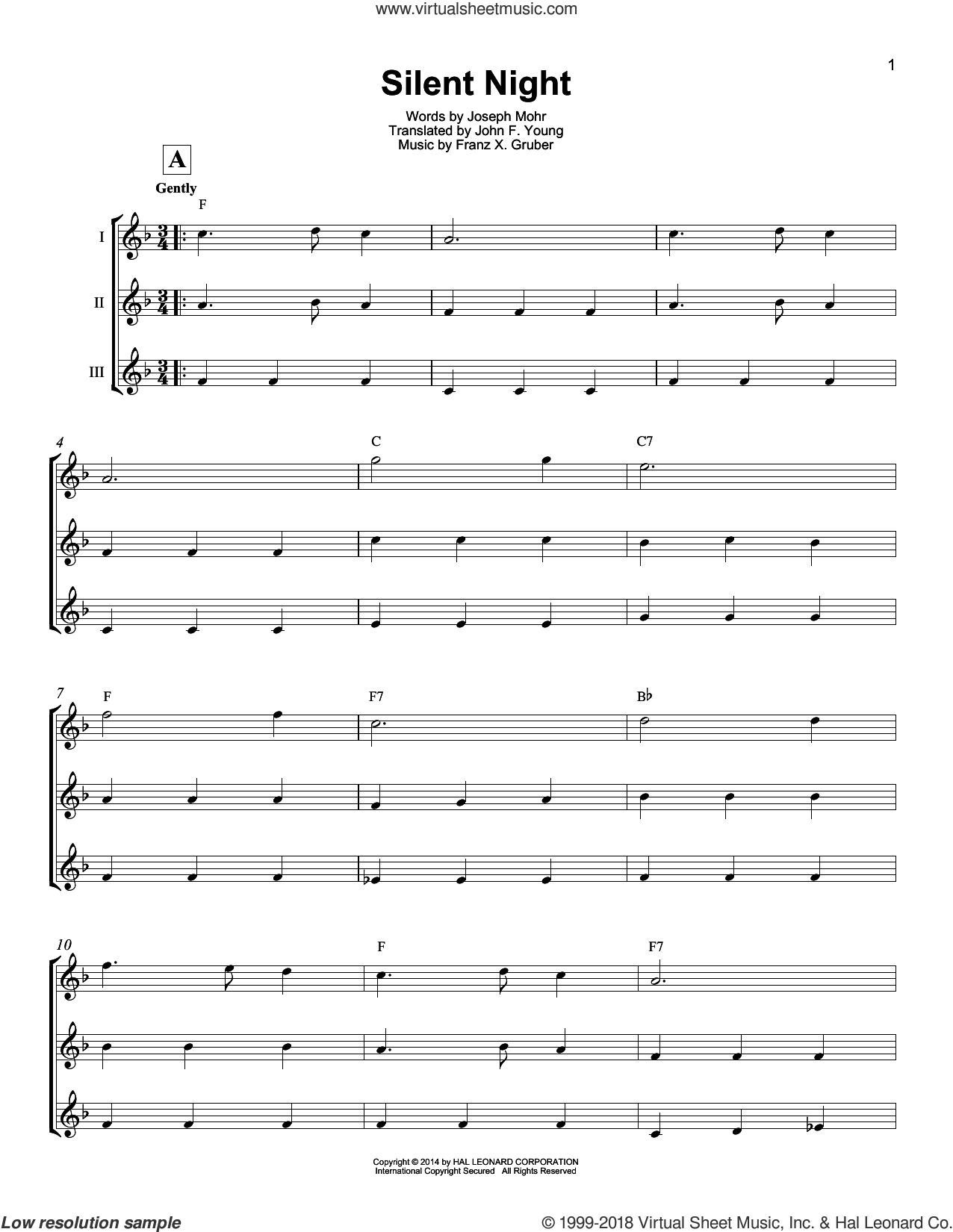 Silent Night sheet music for ukulele ensemble by Franz Gruber, Susan Boyle, John F. Young and Joseph Mohr, intermediate skill level