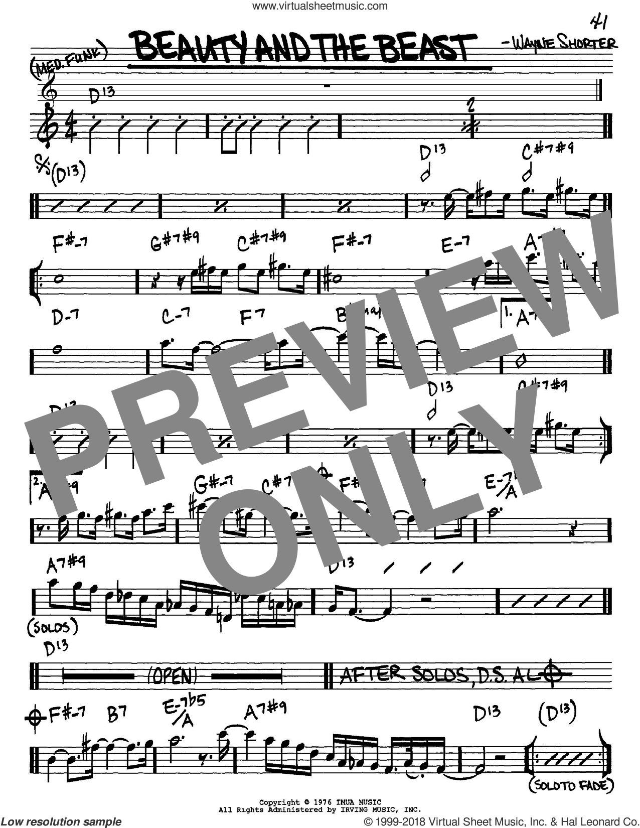 Beauty And The Beast sheet music for voice and other instruments (Eb) by Wayne Shorter. Score Image Preview.