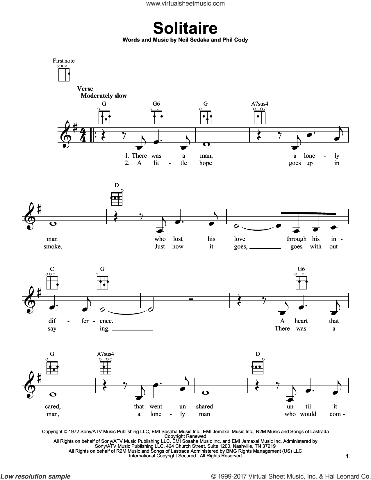 Solitaire sheet music for ukulele by Neil Sedaka, Carpenters and Phil Cody, intermediate skill level