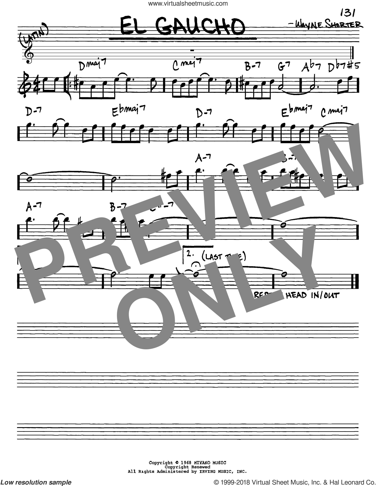 El Gaucho sheet music for voice and other instruments (Eb) by Wayne Shorter. Score Image Preview.